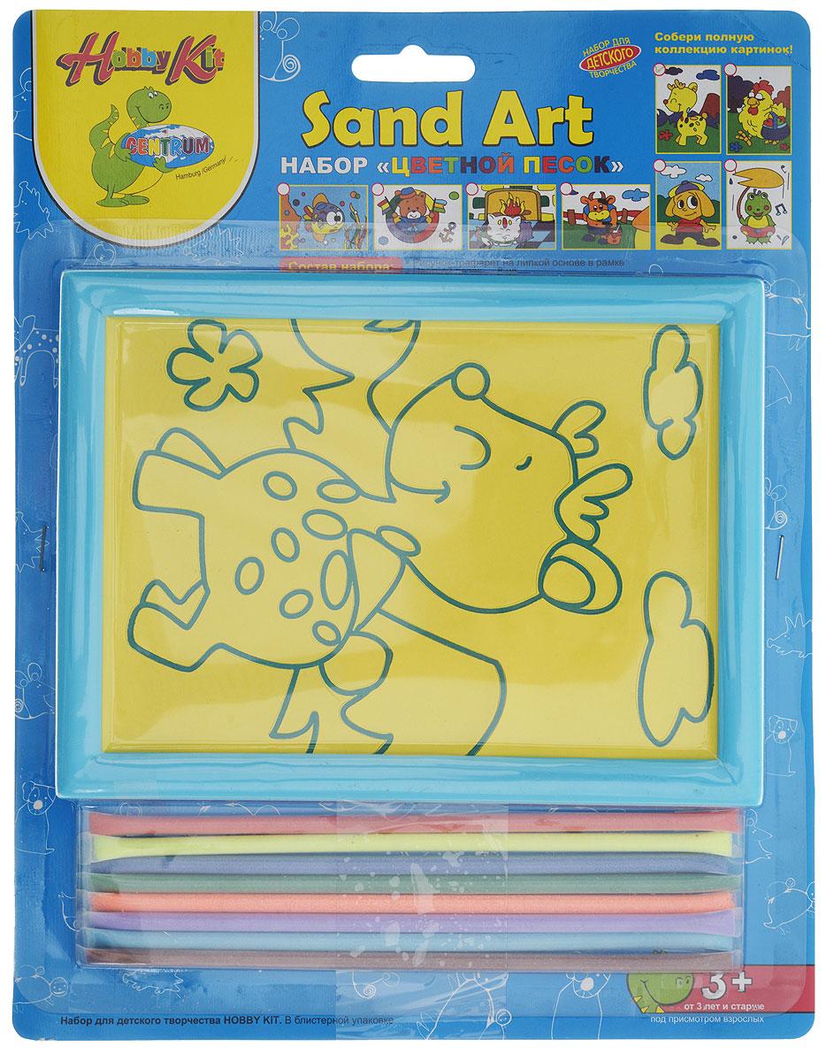 Centrum Набор для создания картины из цветного песка Жираф цвет рамки голубой