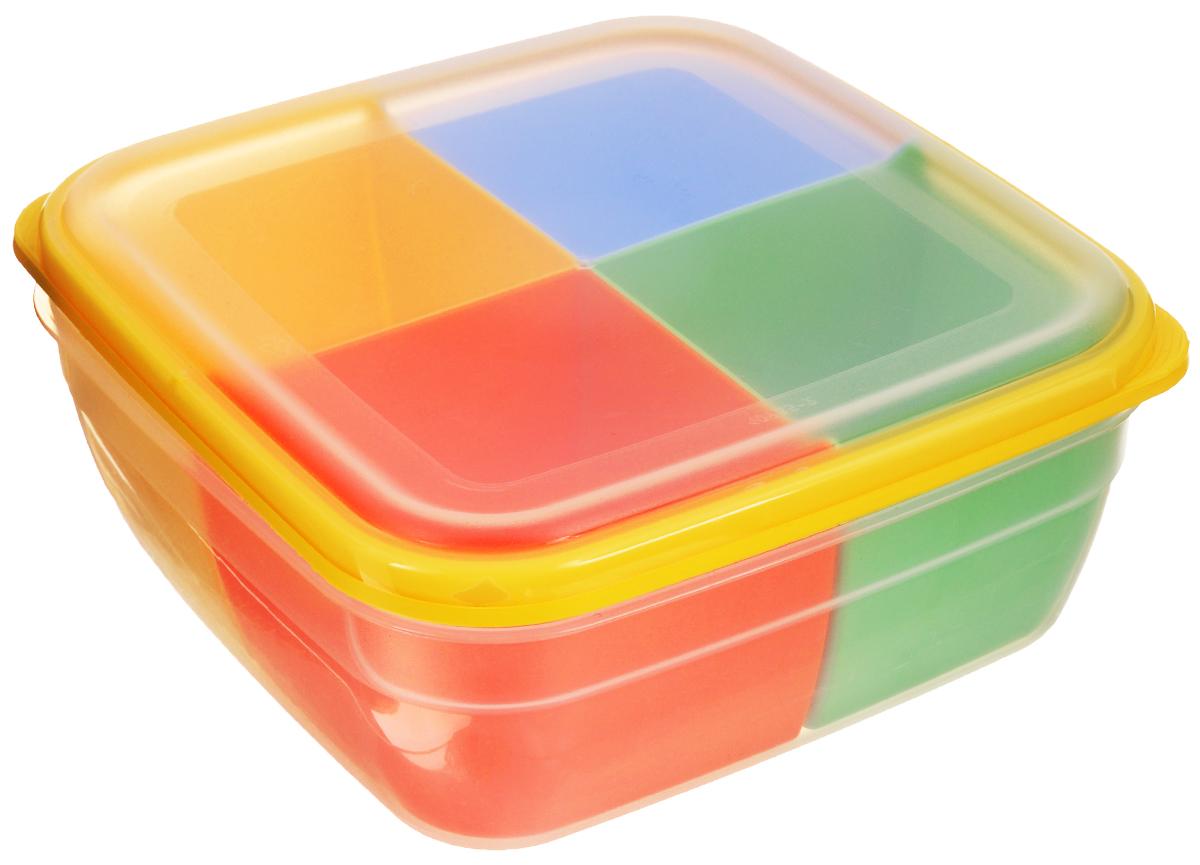 Контейнер-менажница для СВЧ Полимербыт, с крышкой, цвет: прозрачный, желтый, красный, 2,2 лС56701_желтыйКонтейнер-менажница для СВЧ Полимербыт изготовлен из высококачественного прочного пластика, устойчивого к высоким температурам (до +120°С). Крышка плотно закрывается, дольше сохраняя продукты свежими и вкусными. Контейнер снабжен 4 цветными съемными секциями, которые позволяют хранить сразу несколько продуктов или блюд. Он идеально подходит для хранения пищи, его удобно брать с собой на работу, учебу, пикник или просто использовать для хранения пищи в холодильнике. Можно использовать в микроволновой печи и для заморозки в морозильной камере. Можно мыть в посудомоечной машине. Размер секции: 9 х 9 х 7 см.