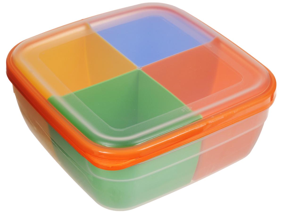 Контейнер-менажница для СВЧ Полимербыт, с крышкой, цвет: прозрачный, оранжевый, желтый, 2,2 л56701_прозрачный, оранжевый, желтыйКонтейнер-менажница для СВЧ Полимербыт изготовлен из высококачественного прочного пластика, устойчивого к высоким температурам (до +120°С). Крышка плотно закрывается, дольше сохраняя продукты свежими и вкусными. Контейнер снабжен 4 цветными съемными секциями, которые позволяют хранить сразу несколько продуктов или блюд. Он идеально подходит для хранения пищи, его удобно брать с собой на работу, учебу, пикник или просто использовать для хранения пищи в холодильнике. Можно использовать в микроволновой печи и для заморозки в морозильной камере. Можно мыть в посудомоечной машине. Размер секции: 9 х 9 х 7 см.