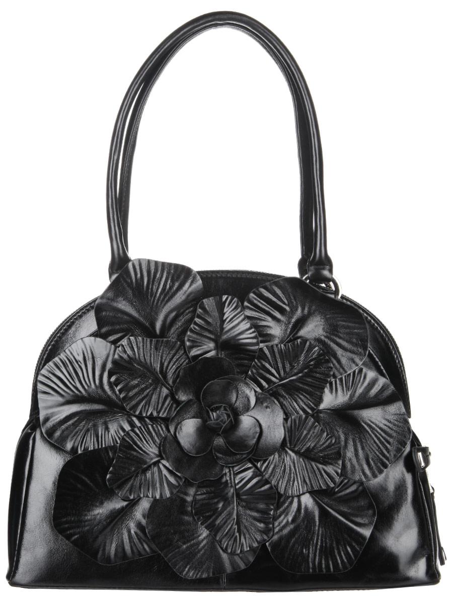 Сумка женская Eleganzza, цвет: черный. ZO-3025ZO-3025Стильная сумка Eleganzza, изготовлена из натуральной кожи с зернистой фактурой, лицевая сторона изделия оформлена оригинальной аппликацией в виде цветка. Изделие содержит одно отделение, которое закрывается на застежку-молнию. Внутри изделия расположены два накладных кармашка для мелочей, врезной карман на молнии и карман-средник на молнии. Задняя сторона изделия дополнена врезным карманом на молнии. Изделие оснащено двумя практичными ручками, которые дополнены металлической фурнитурой. На дне сумки размещены металлические ножки, которые защитят дно от преждевременного изнашивания. Оригинальный аксессуар позволит вам завершить образ и быть неотразимой.
