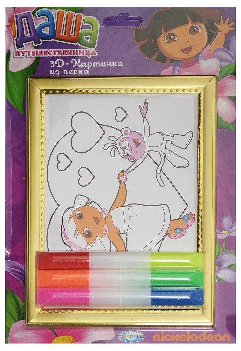 Даша - путешественница Набор для создания картины из цветного песка84748_девочка с обезьяной за рукуНабор для создания картины из цветного песка Даша - путешественница обязательно порадует вашего малыша. С его помощью ребенок сможет своими руками создать необычную картину из цветного песка с изображением Даши с обезьянкой, держащихся за ручку. В набор уже входит все необходимое для творчества: картинка-трафарет в пластиковой рамке и цветной песок. Создать картину из цветного песка совсем несложно - на основу уже нанесен контур рисунка. Постепенно снимайте защитный слой с трафарета и засыпайте цветной песок нужного цвета на клейкую поверхность. Затем подождите, пока песок высохнет - и картина из цветного песка готова! Простой и увлекательный процесс создания картины подарит вашему малышу массу удовольствия и поможет развить мелкую моторику рук, аккуратность, творческое мышление и художественный вкус. Готовая картина из цветного песка станет предметом гордости ребенка, она украсит интерьер детской комнаты, а также станет прекрасным подарком на любой праздник.