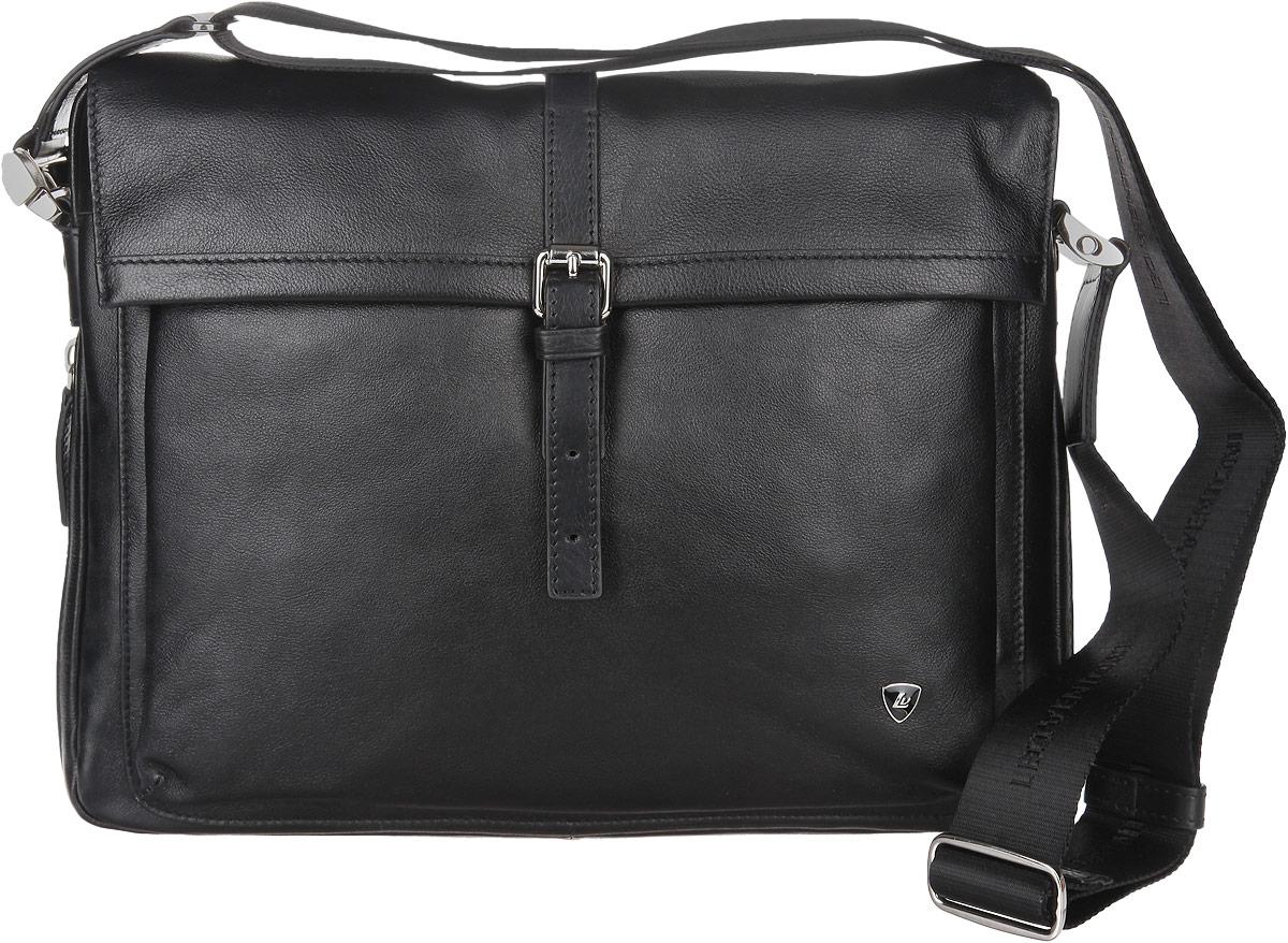 Сумка мужская Leo Ventoni, цвет: черный. 30022143002214Стильная мужская сумка Leo Ventoni изготовлена из натуральной кожи. Модель имеет одно основное отделение, закрывающееся на застежку-молнию. Внутри имеется два прорезных открытых кармашка, два держателя для авторучки, прорезной карман на застежке-молнии, накладной открытый карман и накладной карман на застежке-молнии. Закрывается сумка на клапан с магнитной кнопкой. Снаружи, на передней стенке под клапаном имеются два пришивных кармана, один из которых на застежке-молнии. На задней стенке предусмотрен дополнительный пришивной карман на магнитной кнопке. Основание изделия оснащено застежкой-молнией, расстегнув которую, можно увеличить объем сумки. Изделие оснащено текстильным плечевым ремнем, который регулируется по длине. В комплект входит фирменный чехол. Сумка Leo Ventoni поможет вам подчеркнуть чувство стиля и завершить выбранный образ.