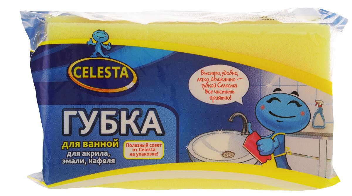 Губка для мытья ванной Celesta, цвет: желтый4499_ желтыйГубка для ванной Celesta, изготовленная из поролона и фибры, бережно и чисто поможет помыть ванну из акрила, эмали, кафеля. Жесткий слой легко справляется с сильными загрязнениями.