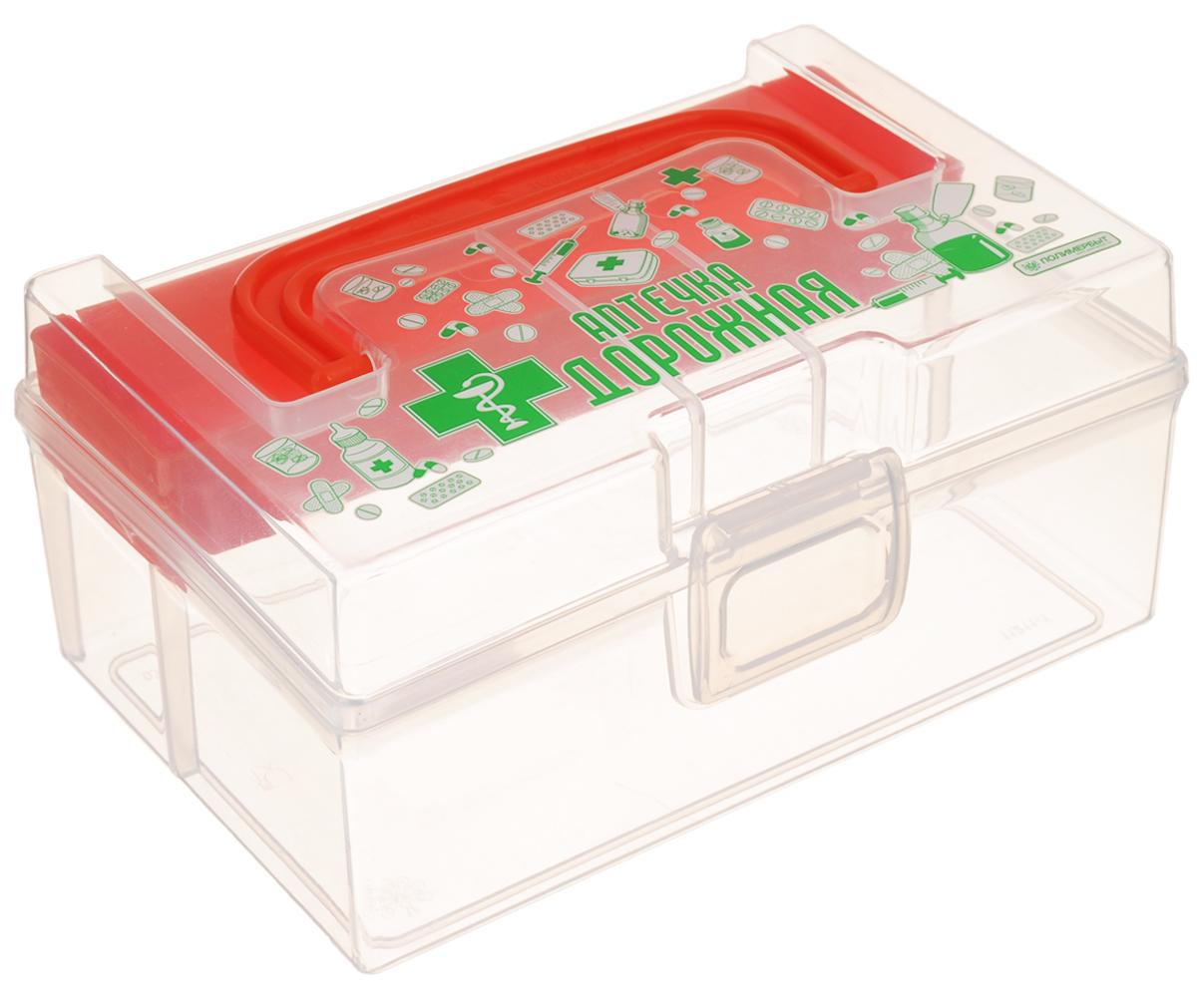 Контейнер для аптечки Полимербыт Аптечка дорожная, с вкладышем, цвет: оранжевый, прозрачный, 800 млС30903_ оранжевыйКонтейнер Полимербыт Аптечка дорожная выполнен из прозрачного пластика. Для удобства переноски сверху имеется ручка. Внутрь вставляется цветной вкладыш с одним отделением. Контейнер плотно закрывается крышкой с защелками. Контейнер для аптечки Полимербыт Аптечка дорожная очень вместителен и поможет вам хранить все лекарства в одном месте. Размер вкладыша: 16 х 4 х 2 см.