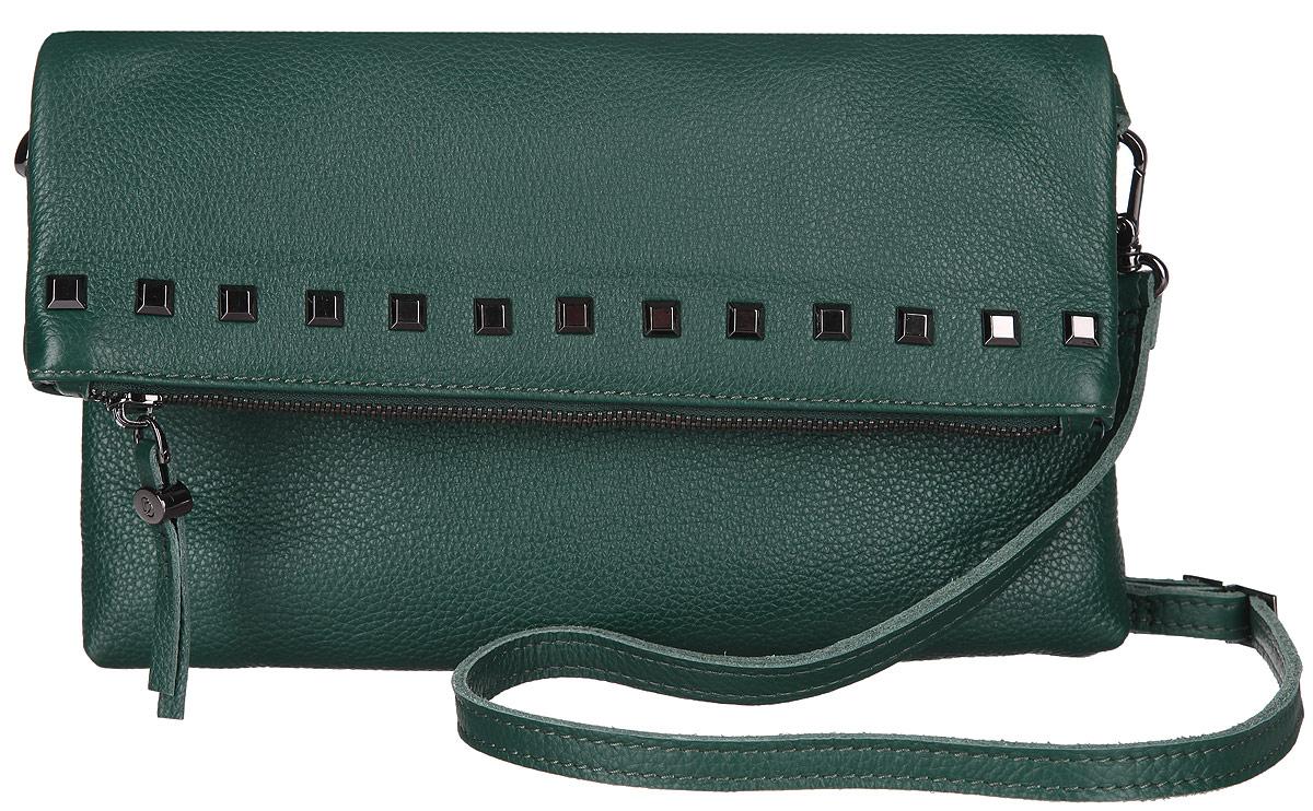 Клатч женский Pimobetti, цвет: темно-зеленый. 11351B311351B3Женская сумка торговой марки PimoBetti из натуральной кожи. Сумка закрывается на металлическую молнию. Внутри - одно отделение, в котором карман на молнии, карман для мобильного телефона и открытый карман. Сумка имеет карманы на передней и задней стенках. Данная модель кросс-боди, длина наплечного ремня - 100 см.