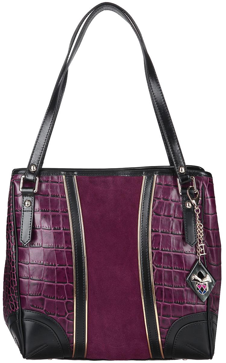 Сумка женская Eleganzza, цвет: фиолетовый. Z15-3246MZ15-3246MСтильная сумка Eleganzza, изготовлена из натуральной кожи с фактурным тиснением под кожу рептилии, оформлена вставкой из замши и оригинальной подвеской. Изделие содержит одно отделение, которое закрывается на застежку-молнию. Внутри изделия расположены два накладных кармашка для мелочей, врезной карман на молнии и карман-средник на молнии. Задняя сторона изделия дополнена врезным карманом на молнии. Изделие оснащено двумя практичными ручками. На дне сумки размещены металлические ножки, которые защитят дно от преждевременного изнашивания. Оригинальный аксессуар позволит вам завершить образ и быть неотразимой.
