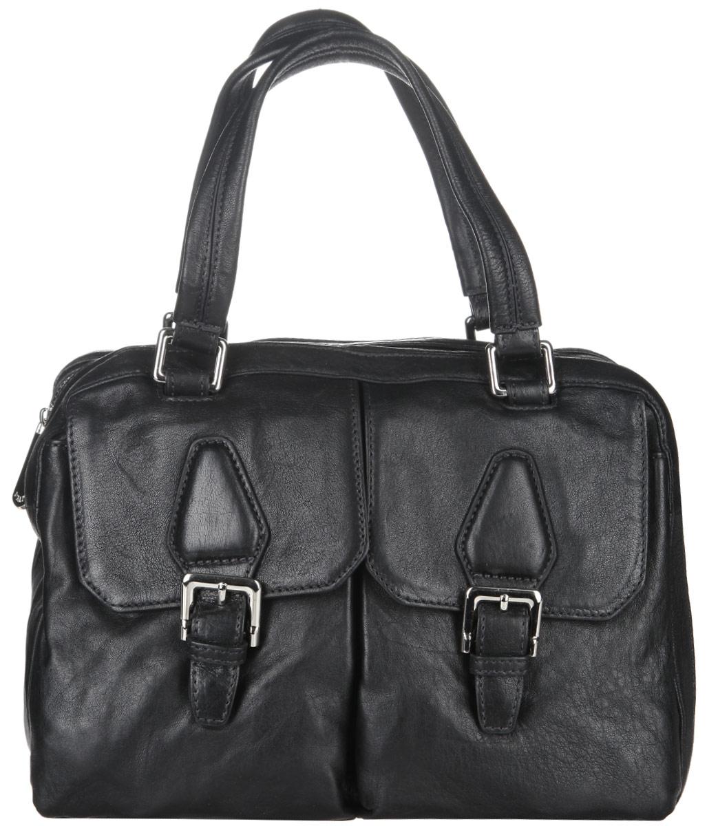 Сумка женская Palio, цвет: черный. 11557A-D311557A-D3Стильная сумка Palio, изготовлена из натуральной кожи с зернистой фактурой, оформлена металлической фурнитурой. Изделие содержит одно отделение, которое закрывается на застежку-молнию. Внутри изделия расположены два накладных кармашка для мелочей, врезной карман на молнии и карман-средник на молнии. На лицевой стороне расположены два накладных кармашка, каждый из которых закрывается клапаном на магнитную кнопку. Задняя сторона сумки дополнена врезным карманом на молнии. Изделие оснащено двумя практичными ручками и съемным плечевым ремнем. Оригинальный аксессуар позволит вам завершить образ и быть неотразимой.