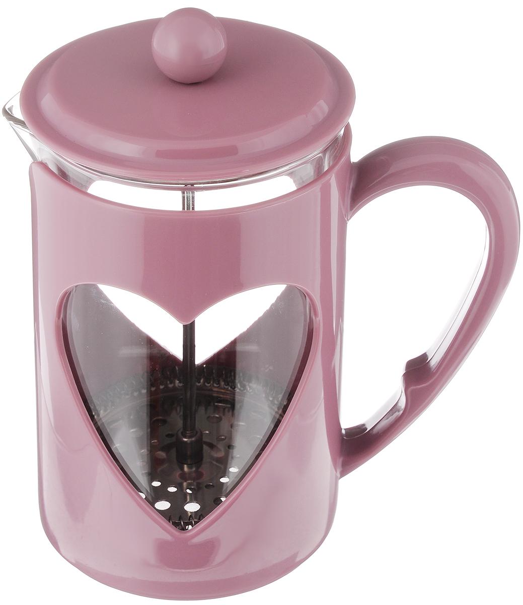 Френч-пресс Mayer & Boch, цвет: пепельно-розовый, прозрачный, 800 мл. 2322623226_ пепельно-розовыйФренч-пресс Mayer & Boch  изготовлен из высококачественного пластика, нержавеющей стали и жаропрочного стекла. Фильтр-поршень из нержавеющей стали выполнен по технологии press-up для обеспечения равномерной циркуляции воды. Засыпая чайную заварку или кофе под фильтр, заливая горячей водой, вы получаете ароматный напиток с оптимальной крепостью и насыщенностью. Остановить процесс заваривания легко, для этого нужно просто опустить поршень, и все уйдет вниз, оставляя вверху напиток, готовый к употреблению.Френч-пресс Mayer & Boch позволит быстро и просто приготовить свежий и ароматный кофе или чай.