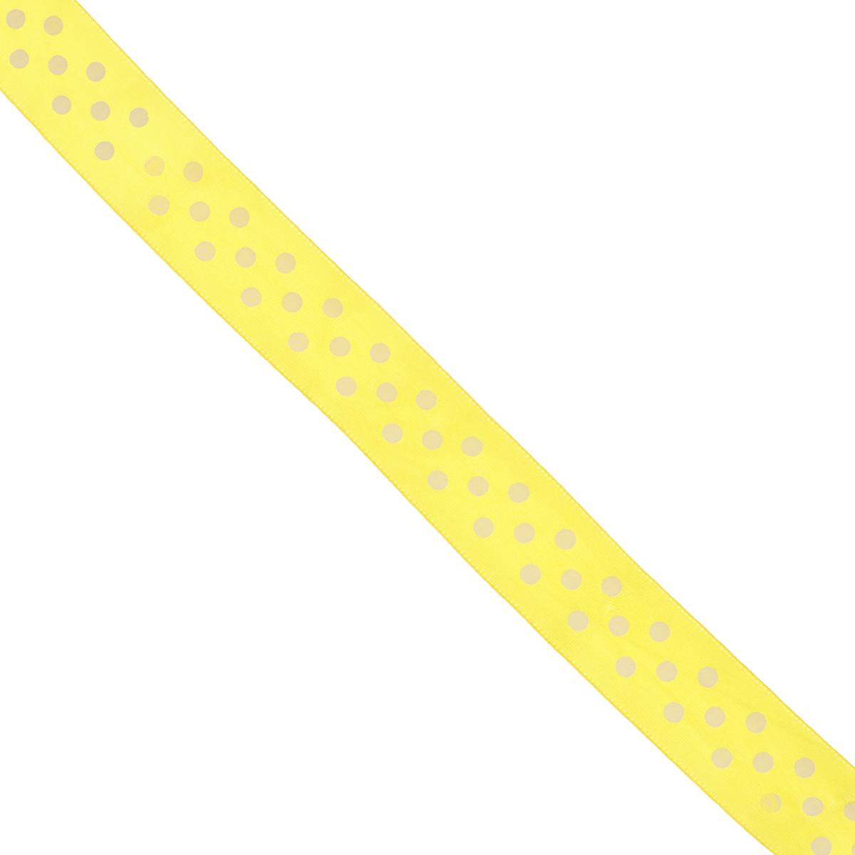 Лента атласная Dekor Line Горошек, цвет: желтый, белый, ширина 2,5 см, длина 3 м7710569_желтыйАтласная лента Dekor Line Горошек выполнена из высококачественного полиэстера. Область применения атласной ленты весьма широка. Лента предназначена для оформления цветочных букетов, подарочных коробок, пакетов. Кроме того, она с успехом применяется для художественного оформления витрин, праздничного оформления помещений, изготовления искусственных цветов. Ее также можно использовать для творчества в различных техниках, таких как скрапбукинг, оформление аппликаций, для украшения фотоальбомов, подарков, конвертов, фоторамок, открыток и прочего. Ширина ленты: 2,5 см. Длина ленты: 3 м.