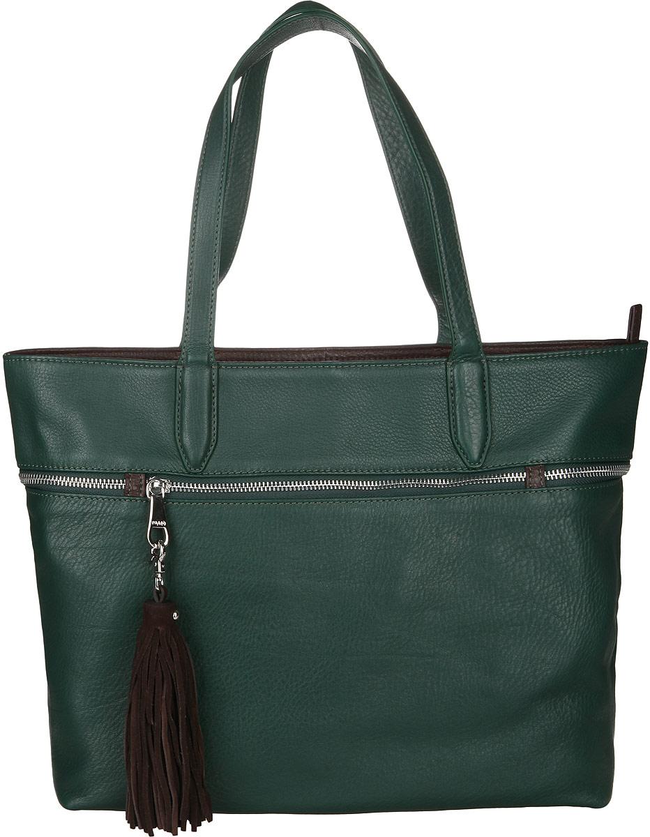 Сумка женская Palio, цвет: зеленый, коричневый. 13672A-W113672A-W1Стильная сумка Palio, изготовлена из натуральной кожи с зернистой фактурой, оформлена металлической фурнитурой и подвеской в виде кисти. Изделие содержит одно отделение, которое закрывается на застежку-молнию. Внутри изделия расположены два накладных кармашка для мелочей, врезной карман на молнии и карман-средник на молнии. Изделие оснащено двумя практичными ручками. Лицевая сторона сумки дополнена врезным карманом на молнии. Дно сумки дополнено металлическими ножками, которые защитят изделие от преждевременного изнашивания. Оригинальный аксессуар позволит вам завершить образ и быть неотразимой.
