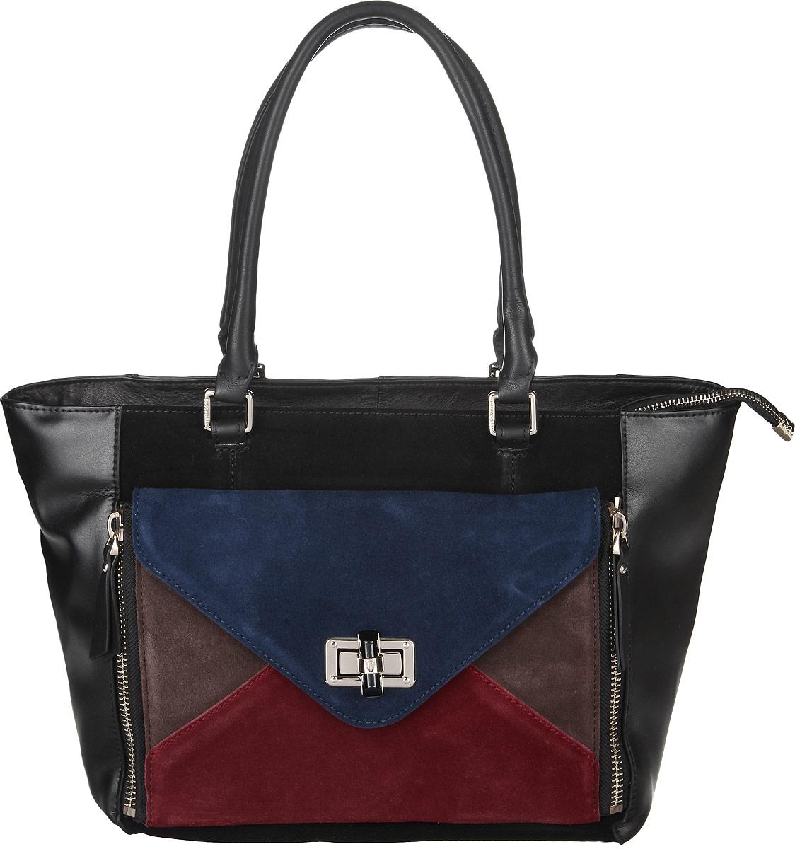 Сумка женская Eleganzza, цвет: черный. Z4-5328Z4-5328Стильная сумка Eleganzza, изготовлена из натуральной кожи, оформлена металлической фурнитурой цветными замшевыми вставками. Изделие содержит одно отделение, которое закрывается на застежку-молнию. Внутри изделия расположены два накладных кармашка для мелочей, врезной карман на молнии и карман-средник на молнии. Задняя сторона изделия дополнена врезным карманом на молнии. На лицевой стороне расположен накладной карман, закрывающийся клапаном на замок-вертушку. Изделие оснащено двумя практичными ручками. На дне сумки размещены металлические ножки, которые защитят дно от преждевременного изнашивания. Оригинальный аксессуар позволит вам завершить образ и быть неотразимой.