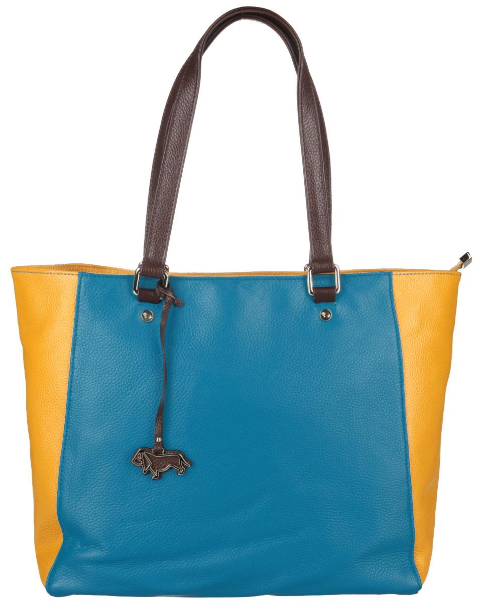 Сумка женская Labbra, цвет: бирюзовый, желтый, темно-коричневый. L-D23159L-D23159Стильная сумка Labbra, изготовлена из натуральной кожи с зернистой фактурой, оформлена металлической фурнитурой с символикой бренда. Изделие содержит одно отделение, которое закрывается на застежку-молнию. Внутри изделия расположены два накладных кармашка для мелочей, врезной карман на молнии. Задняя сторона сумки дополнена врезным карманом на молнии. Изделие оснащено двумя практичными ручками. Дно сумки дополнено металлическими ножками, которые защитят изделие от преждевременного изнашивания. Оригинальный аксессуар позволит вам завершить образ и быть неотразимой.