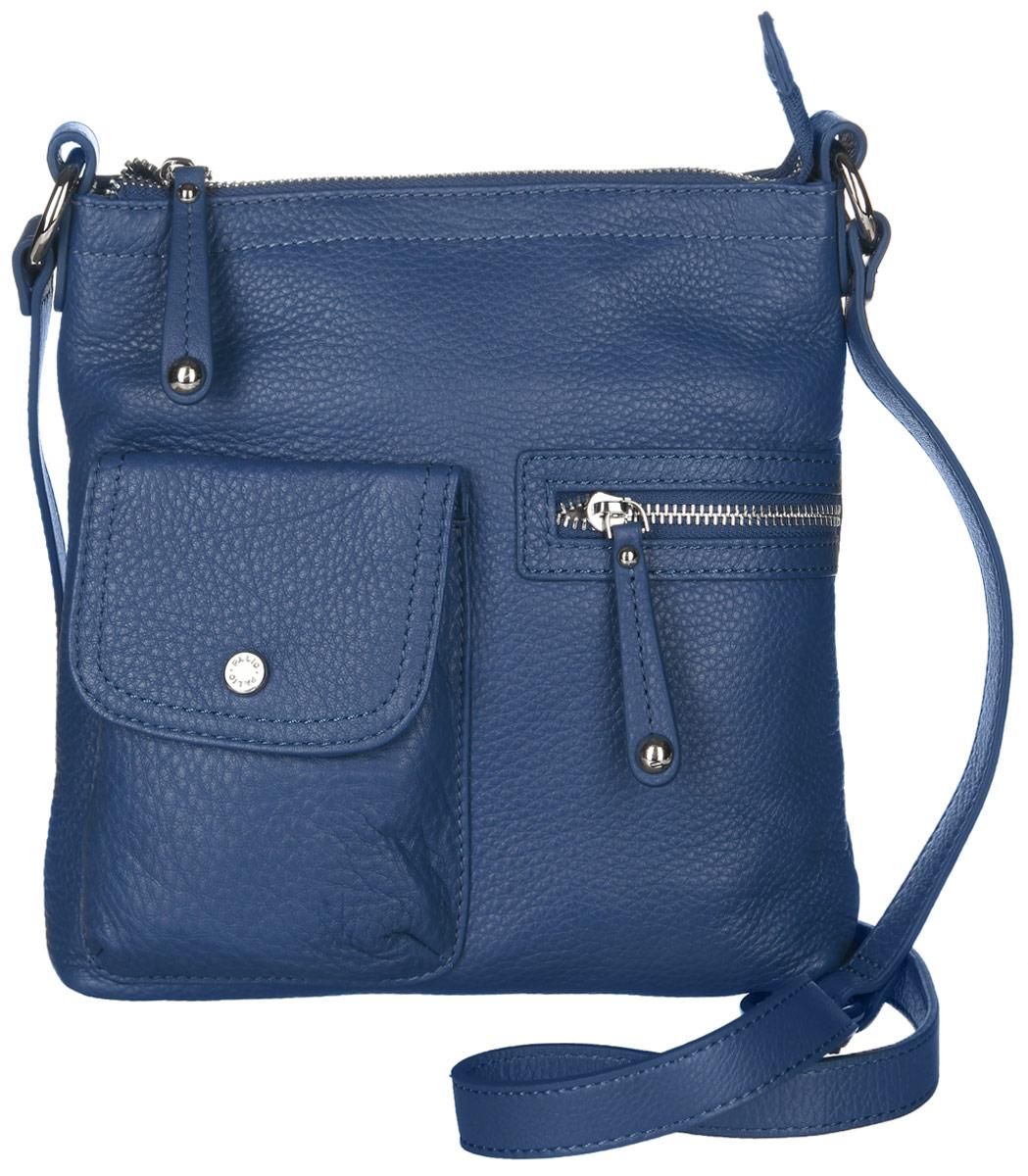 Сумка женская Palio, цвет: синий. 1087810878Стильная сумка Palio изготовлена из натуральной кожи с зернистой фактурой, оформлена металлической фурнитурой. Изделие содержит одно отделение, которое закрывается на молнию. Внутри изделия расположены два накладных кармашка для мелочей и врезной карман на молнии. Задняя сторона сумки дополнена врезным карманом на молнии. На лицевой стороне расположен накладной карман, закрывающийся клапаном на магнитную кнопку, и врезной карман на молнии. Изделие оснащено практичным плечевым ремнем регулируемой длины. Оригинальный аксессуар позволит вам завершить образ и быть неотразимой.