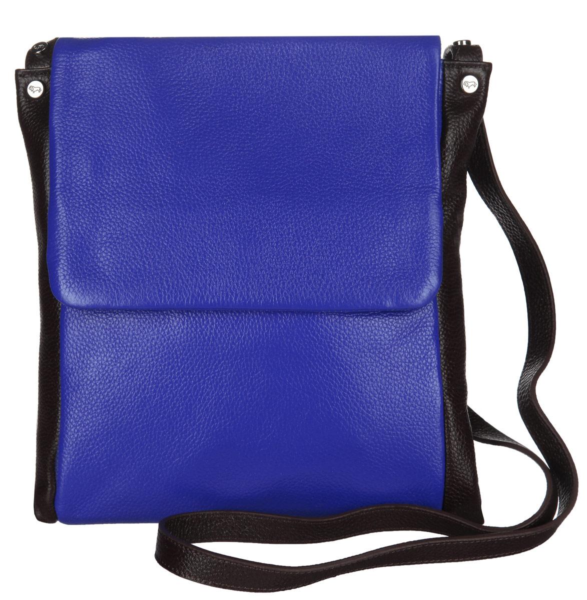 Сумка женская Labbra, цвет: синий, темно-коричневый. L-DL90239L-DL90239Стильная сумка Labbra изготовлена из натуральной кожи с зернистой фактурой, оформлена металлической фурнитурой с символикой бренда. Изделие содержит одно отделение, которое закрывается клапаном на магнитную кнопку. Внутри изделия расположены два накладных кармашка для мелочей и врезной карман на молнии. Задняя сторона сумки дополнена врезным карманом на молнии. Изделие оснащено практичным плечевым ремнем регулируемой длины. Оригинальный аксессуар позволит вам завершить образ и быть неотразимой.