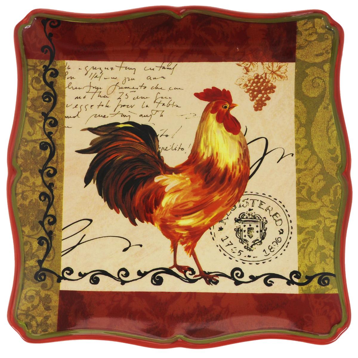 Тарелка обеденная Certified International Тосканский петух, цвет: золотистый, красный, черный, 27 х 27 см63200_золотистый,красный,черныйОбеденная тарелка Certified International Тосканский петух, изготовленная из высококачественной керамики, украшена ярким рисунком. Изящный дизайн придется по вкусу и ценителям классики, и тем, кто предпочитает утонченность. Тарелка Certified International Тосканский петух идеально подойдет для сервировки стола и станет отличным подарком к любому празднику. Размер тарелки (по верхнему краю): 27 х 27 см.