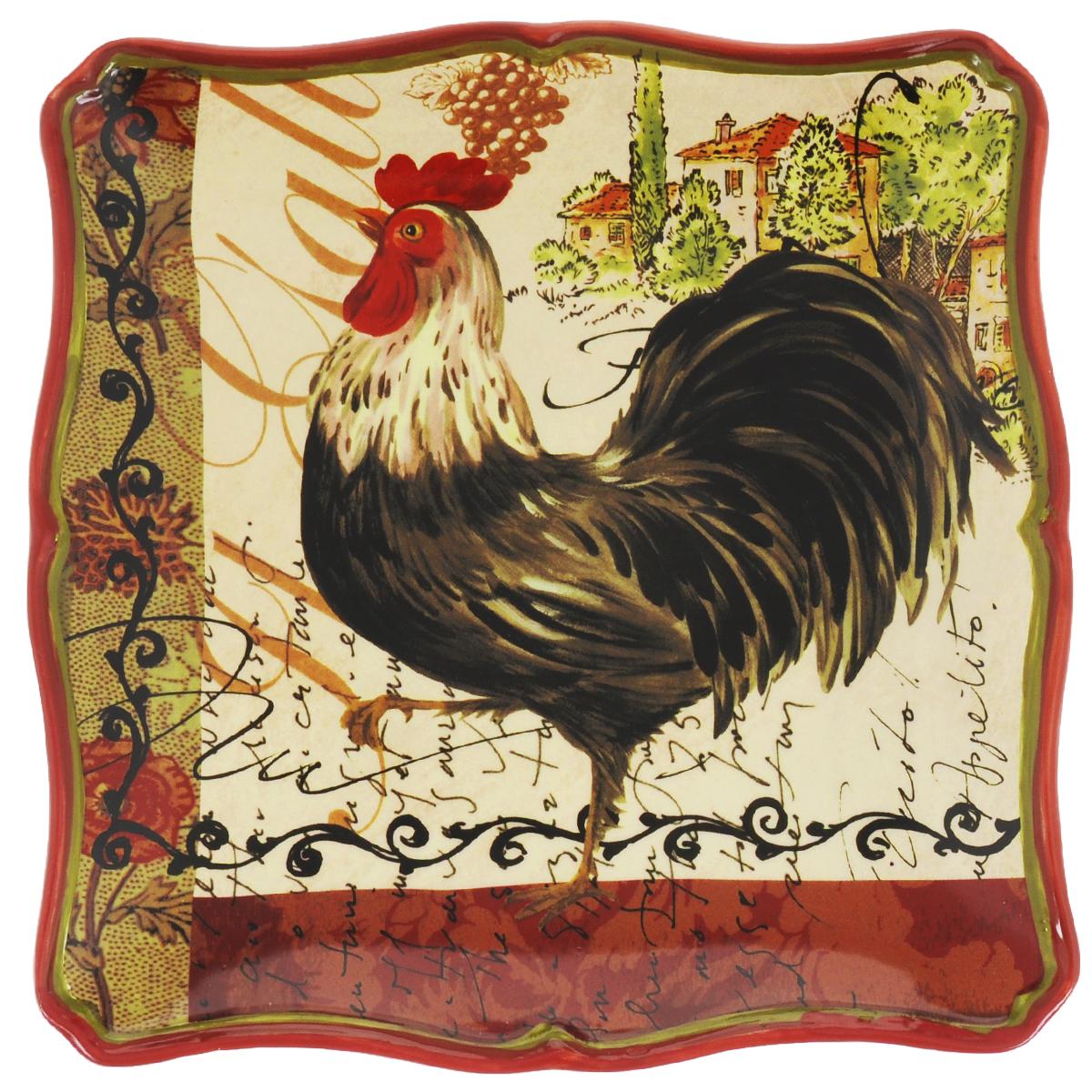 Тарелка десертная Certified International Тосканский петух, цвет: красный, черный, 22 х 22 см63201_красный,черныйДесертная тарелка Certified International Тосканский петух выполнена из керамики. Изделие отличается практичностью и высоким качеством исполнения. Тарелка расписана вручную и покрыта глазурью. Она прекрасно впишется в интерьер вашей кухни и станет достойным дополнением к кухонному инвентарю. Такая тарелка не только украсит ваш кухонный стол и подчеркнет прекрасный вкус хозяйки, но и станет отличным подарком. Размер тарелки: 22 х 22 см.