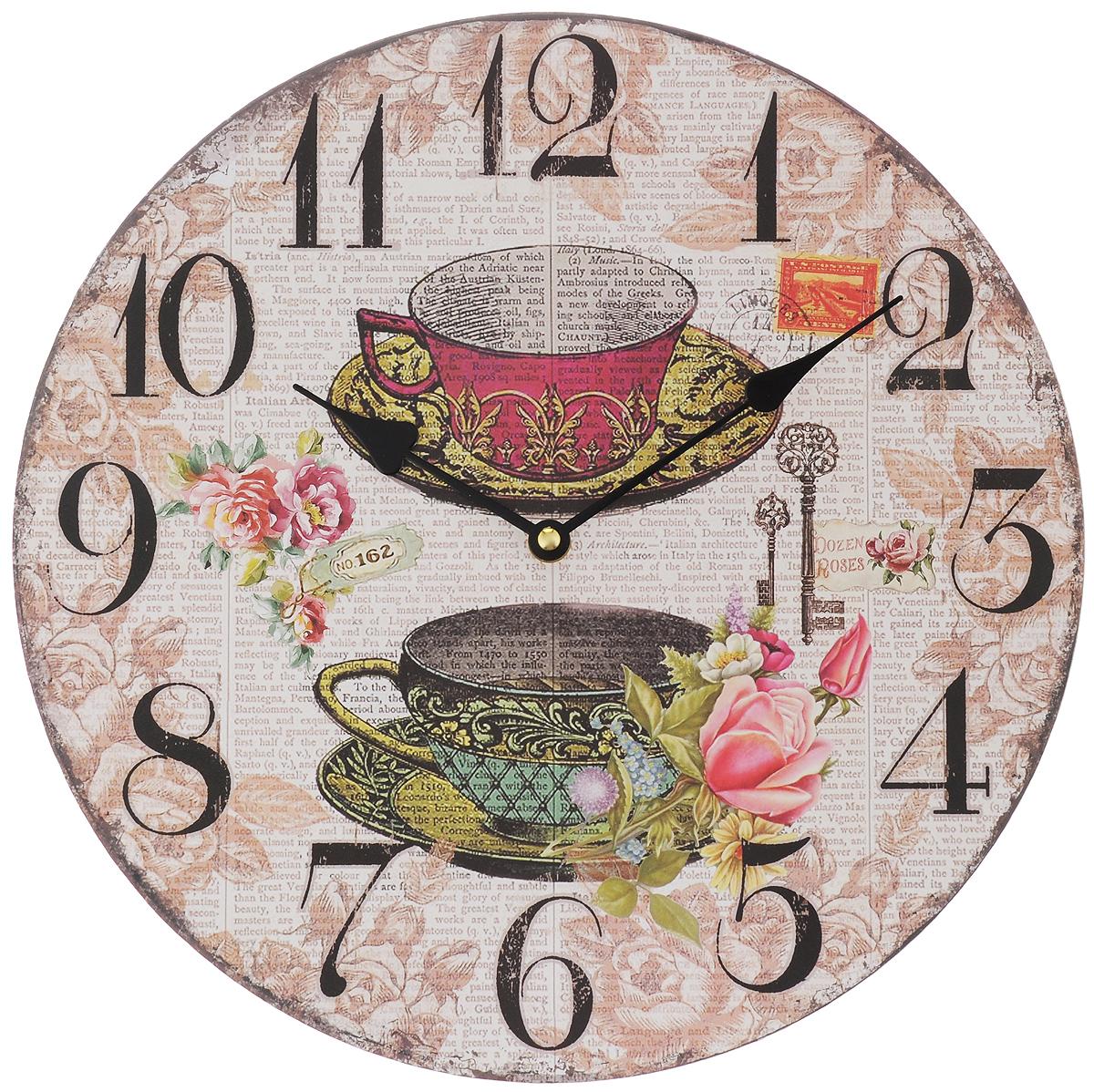 Часы настенные Феникс-Презент Чашки, диаметр 34 см40708Настенные часы круглой формы Феникс-Презент Чашки, выполненные из МДФ, своим эксклюзивным дизайном подчеркнут оригинальность интерьера вашего дома. Циферблат оформлен изображением цветов. МДФ (мелкодисперсные фракции) представляет собой плиту из запрессованной вакуумным способом деревянной пыли и является наиболее экологически чистым материалом среди себе подобных. Часы имеют две стрелки - часовую и минутную. Настенные часы Феникс-Презент Чашки подходят для кухни, гостиной, прихожей или дачи, а также могут стать отличным подарком для друзей и близких. Необходимо докупить 1 батарею напряжением 1,5V типа АА (не входит в комплект).