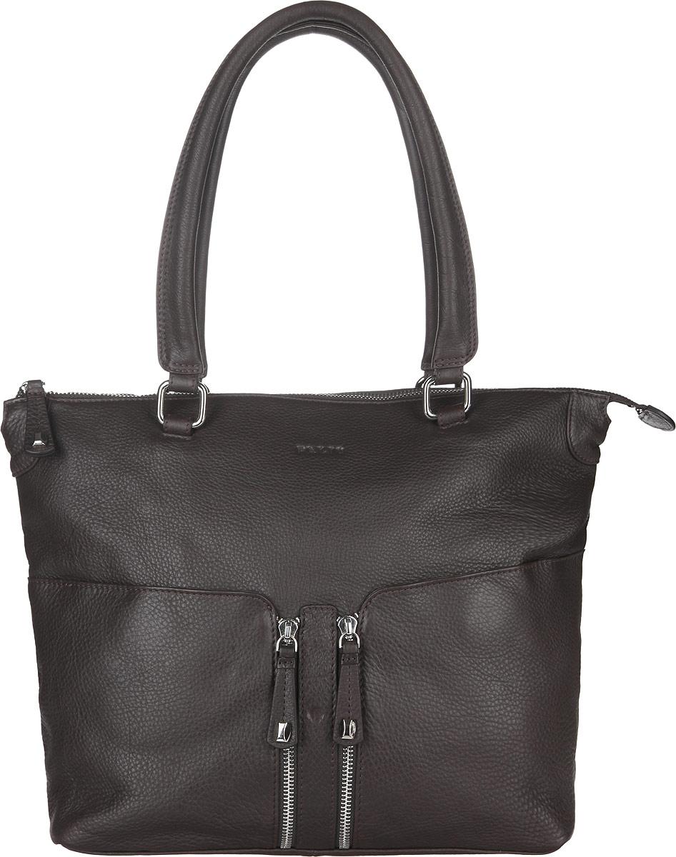 Сумка женская Palio, цвет: темно-коричневый. 13085A13085AСтильная сумка Palio, изготовлена из натуральной кожи с зернистой фактурой, оформлена металлической фурнитурой. Изделие содержит одно отделение, которое закрывается на застежку-молнию. Внутри изделия расположены два накладных кармашка для мелочей, врезной карман на молнии и карман-средник на молнии. Изделие оснащено двумя практичными ручками с металлической фурнитурой. Лицевая сторона сумки дополнена двумя накладными карманами на магнитах. На задней стороне изделия размещен врезной карман на молнии. Дно сумки дополнено металлическими ножками, которые защитят изделие от преждевременного изнашивания. Оригинальный аксессуар позволит вам завершить образ и быть неотразимой.