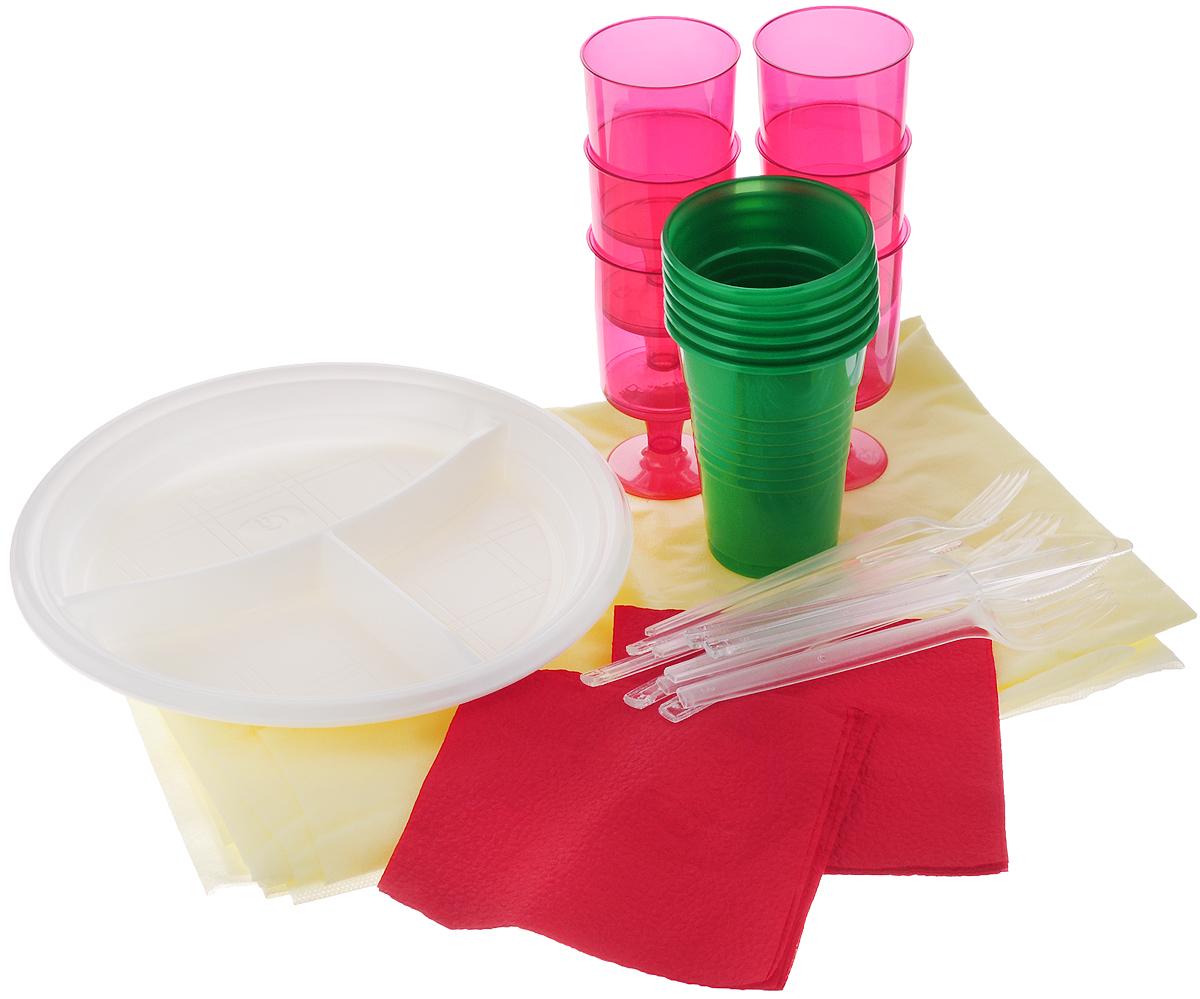Набор пластиковой посуды SHL На природу!, цвет: желтый, 37 предметов1403_жёлтая скатертьНабор пластиковой посуды SHL состоит из скатерти, 6 тарелок, 6 стаканчиков, 6 рюмок, 6 вилок, 6 ножей и 6 салфеток. Посуда выполнена из пищевого пластика, предназначена для холодных и горячих (до +70°С) пищевых продуктов. В комплекте предусмотрена прямоугольная скатерть из нетканого волокна. Такой набор посуды отлично подойдет для отдыха на природе. В нем есть все необходимое для пикника. Диаметр тарелки: 21 см. Объем стакана: 200 мл. Диаметр стакана (по верхнему краю): 7 см. Высота стакана: 9,5 см. Объем рюмки: 100 мл. Диаметр рюмки (по верхнему краю): 5 см. Высота рюмки: 9,5 см. Длина ложки/вилки: 15 см. Размер салфетки: 23 х 24 см. Размер скатерти: 123 х 142 см.