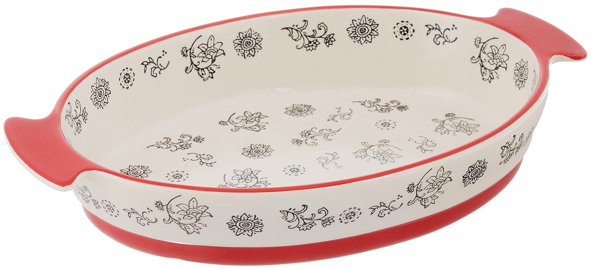 Форма для запекания Viconte, овальная, керамическая, цвет: красный, слоновая кость, 2,7 лVC-1009Овальная форма Viconte, выполненная из высококачественной жаропрочной керамики, оснащена двумя удобными ручками. Стильный дизайн и яркий рисунок делают это изделие прекрасным украшением на любой кухне. С формой для запекания Viconte процесс приготовления любого блюда станет простым и быстрым. Подходит для использования в духовом шкафу и СВЧ печи. Выдерживает температуру до 230°C. Можно мыть в посудомоечной машине. С такой формой вы всегда сможете порадовать своих близких оригинальной выпечкой. Размер формы (с учетом ручек): 37,3 х 23,6 см. Размер формы (без учета ручек): 30,7 х 23,6 см. Высота стенок: 6,4 см.