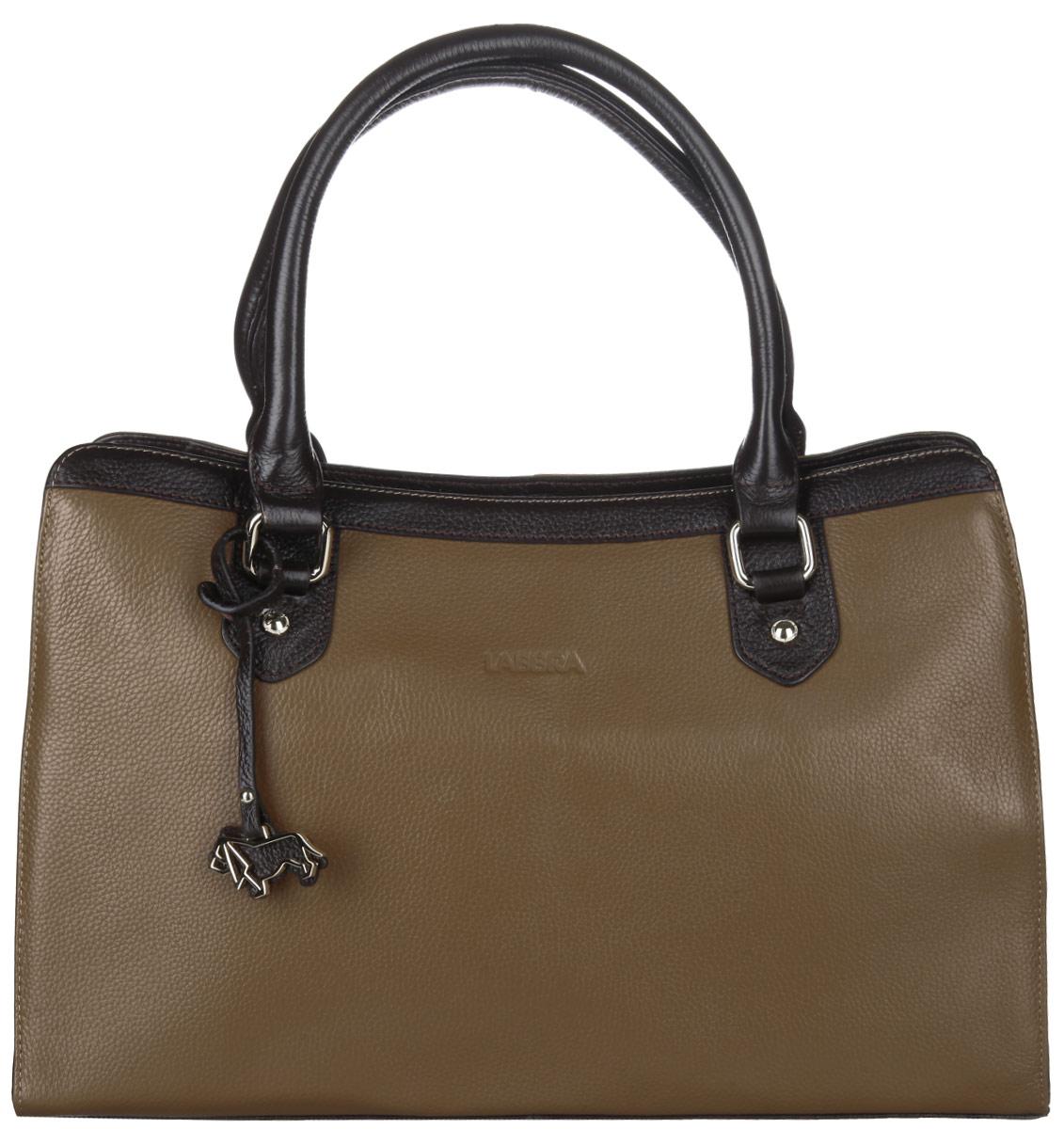 Сумка женская Labbra, цвет: бежево-коричневый, темно-коричневый. L-1508-2L-1508-2Стильная женская сумка Labbra выполнена из натуральной кожи с фактурным тиснением и украшена брелоком с логотипом бренда. Изделие имеет одно основное отделение, закрывающееся на застежку-молнию. Внутри находятся два накладных открытых кармана, прорезной карман на застежке-молнии и накладной карман с отделением на застежке-молнии. Снаружи, на задней стенке предусмотрен прорезной карман на застежке-молнии. Сумка оснащена двумя удобными ручками. В комплект входит съемный плечевой ремень и фирменный чехол для хранения. Основание сумки защищено от повреждений металлическими ножками. Стильная сумка Labbra прекрасно дополнит ваш образ.