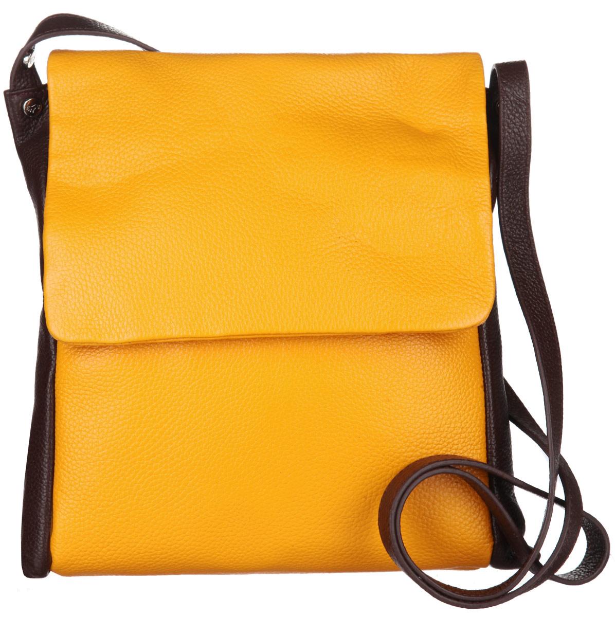 Сумка женская Labbra, цвет: желтый, темно-коричневый. L-DL90239L-DL90239Стильная сумка Labbra изготовлена из натуральной кожи с зернистой фактурой, оформлена металлической фурнитурой с символикой бренда. Изделие содержит одно отделение, которое закрывается клапаном на магнитную кнопку. Внутри изделия расположены два накладных кармашка для мелочей и врезной карман на молнии. Задняя сторона сумки дополнена врезным карманом на молнии. На задней стороне сумки расположен накладной карман на молнии. Изделие оснащено практичным плечевым ремнем регулируемой длины. Оригинальный аксессуар позволит вам завершить образ и быть неотразимой.