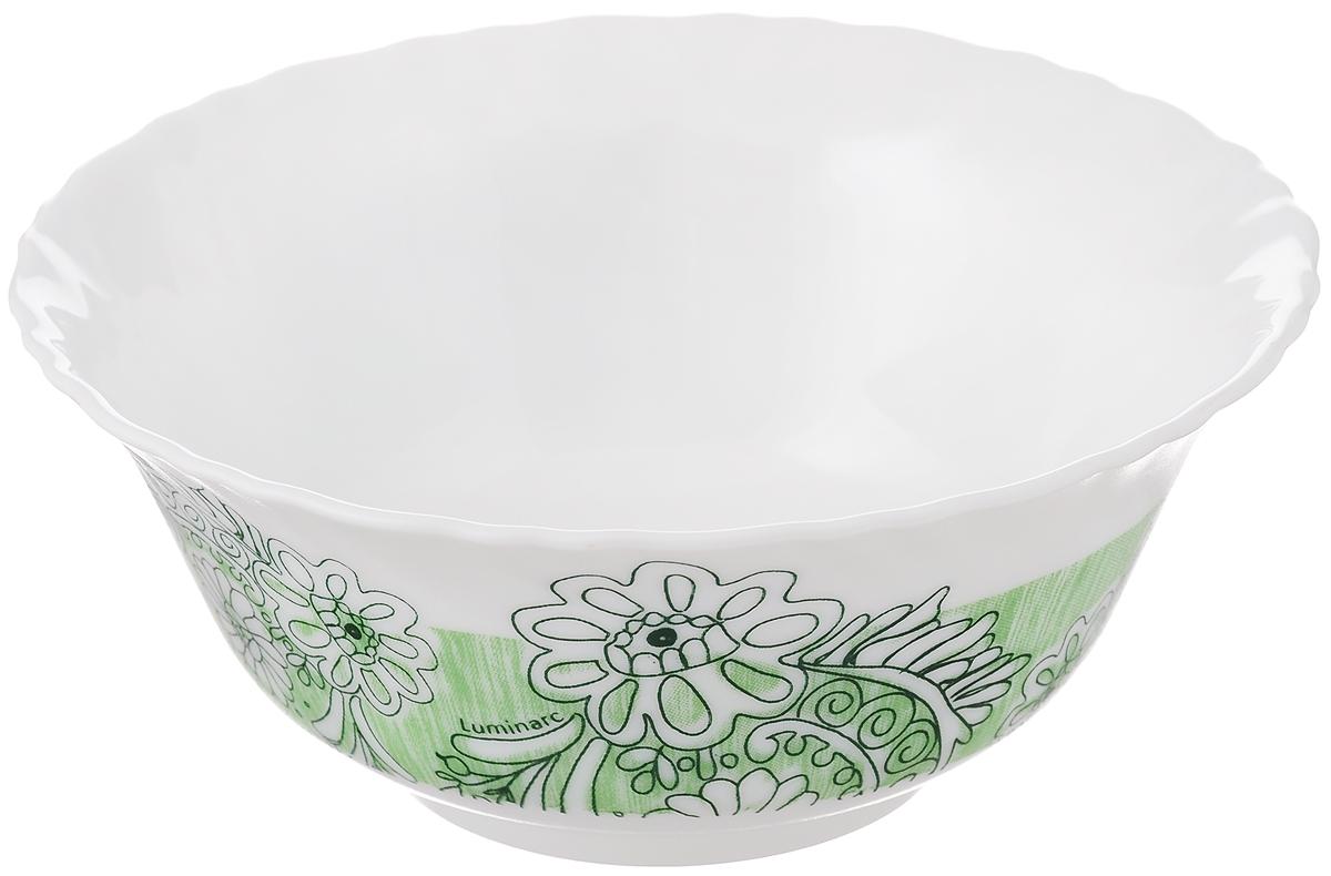 Салатник Luminarc Minelli, цвет: белый, зеленый, диаметр 12,5 смJ7037Салатник Luminarc Minelli, изготовленный из высококачественного стекла, прекрасно впишется в интерьер вашей кухни и станет достойным дополнением к кухонному инвентарю. Салатник оформлен ярким рисунком. Такой салатник не только украсит ваш кухонный стол и подчеркнет прекрасный вкус хозяйки, но и станет отличным подарком. Диаметр по верхнему краю: 12,5 см.