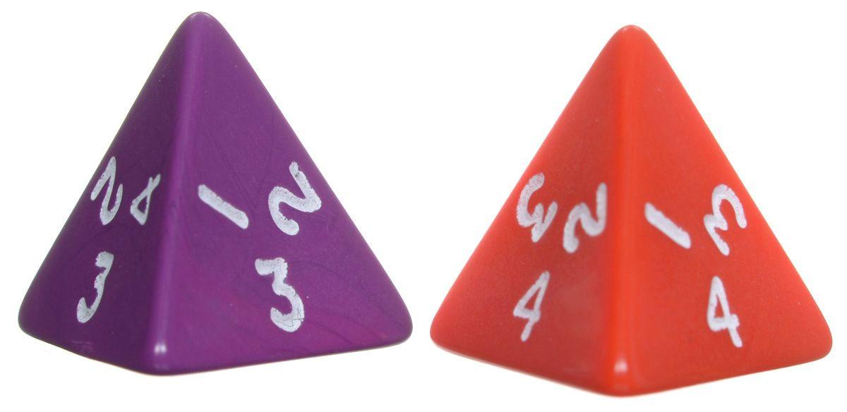 Koplow Games Набор игральных костей Простые D4 цвет красный фиолетовый 2 шт
