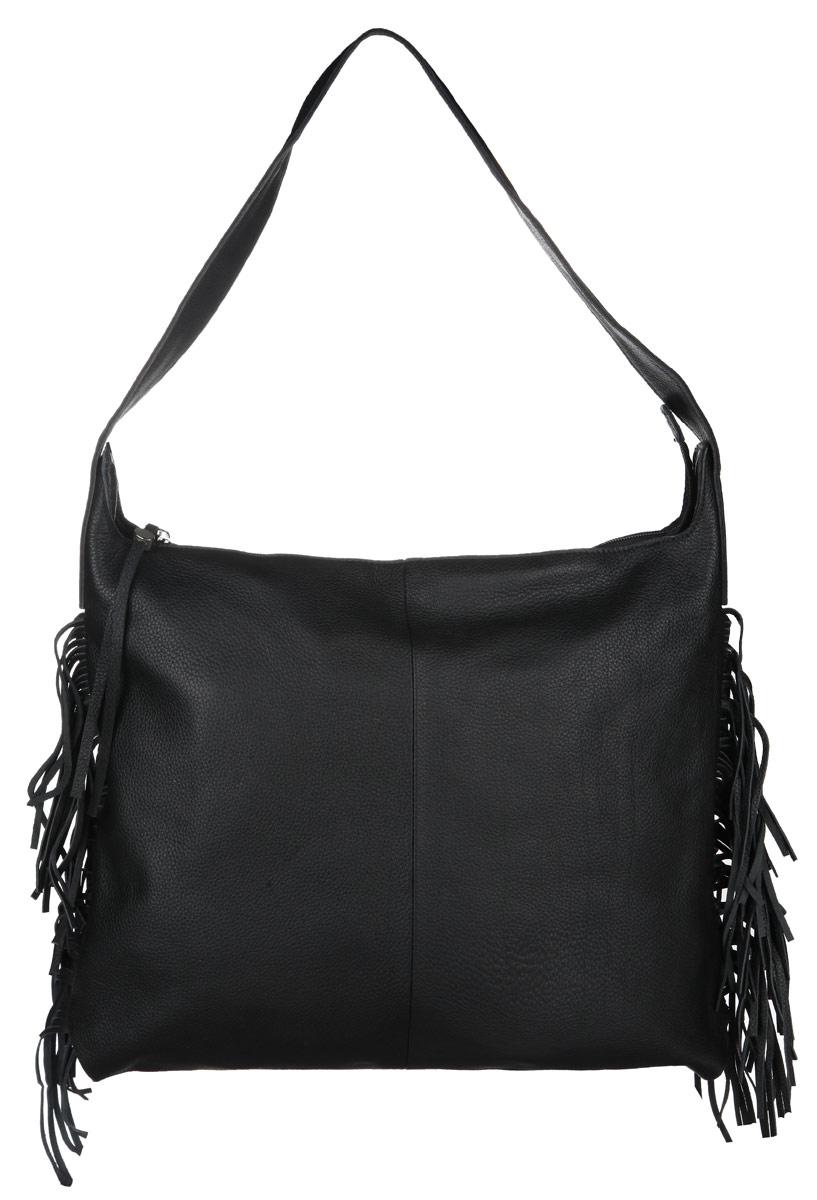 Сумка женская Pimobetti, цвет: черный. 13500B313500B3Оригинальная женская сумка Pimobetti выполнена из натуральной кожи с фактурной поверхностью. По бокам изделие оформлено оригинальной бахромой из кожи. Изделие имеет одно основное отделение, которое закрывается на застежку-молнию. Внутри расположен прорезной карман на застежке-молнии и два накладных открытых кармана для телефона и мелочей. Снаружи, на задней стенке сумки расположен прорезной карман на застежке-молнии. Сумка оснащена практичной ручкой, которая позволит носить изделие, как в руках, так и на плече. Изделие упаковано в фирменный чехол. Стильная сумка Pimobetti прекрасно дополнит ваш образ.