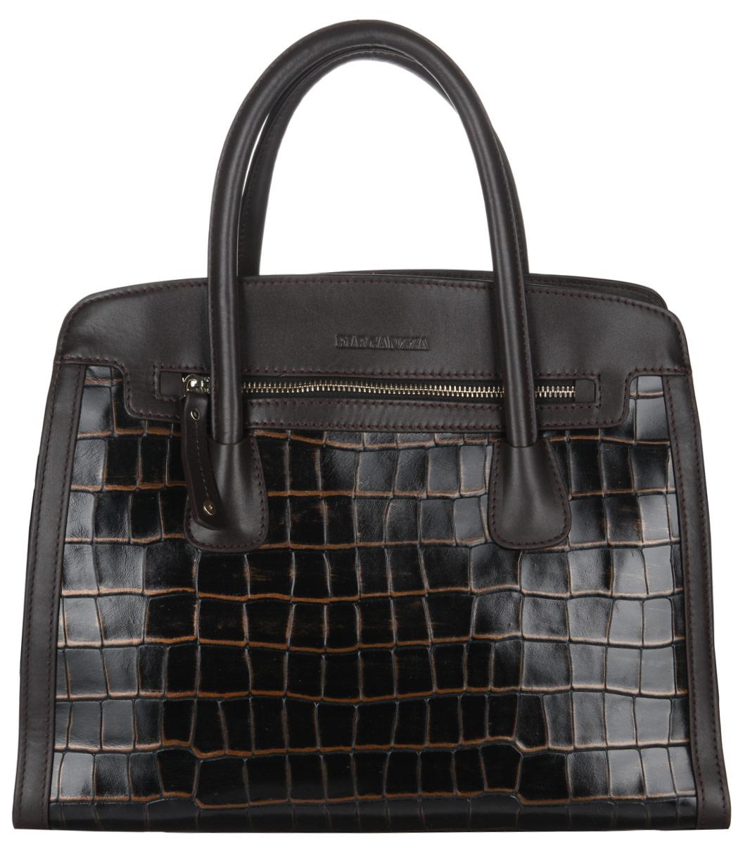 Сумка женская Eleganzza, цвет: темно-коричневый. Z268-5348Z268-5348Стильная женская сумка Eleganzza выполнена из натуральной кожи с тиснением под крокодила. Изделие имеет одно основное отделение, закрывающееся на застежку-молнию. Внутри находятся два накладных открытых кармана и прорезной карман на застежке-молнии. Снаружи, на передней и задней стенках предусмотрены прорезные карманы на застежках-молниях. Сумка оснащена удобными ручками. В комплект входит съемный плечевой ремень регулируемой длины. Основание сумки защищено от повреждений металлическими ножками. Изделие упаковано в фирменный чехол. Стильная сумка Eleganzza прекрасно дополнит ваш образ.