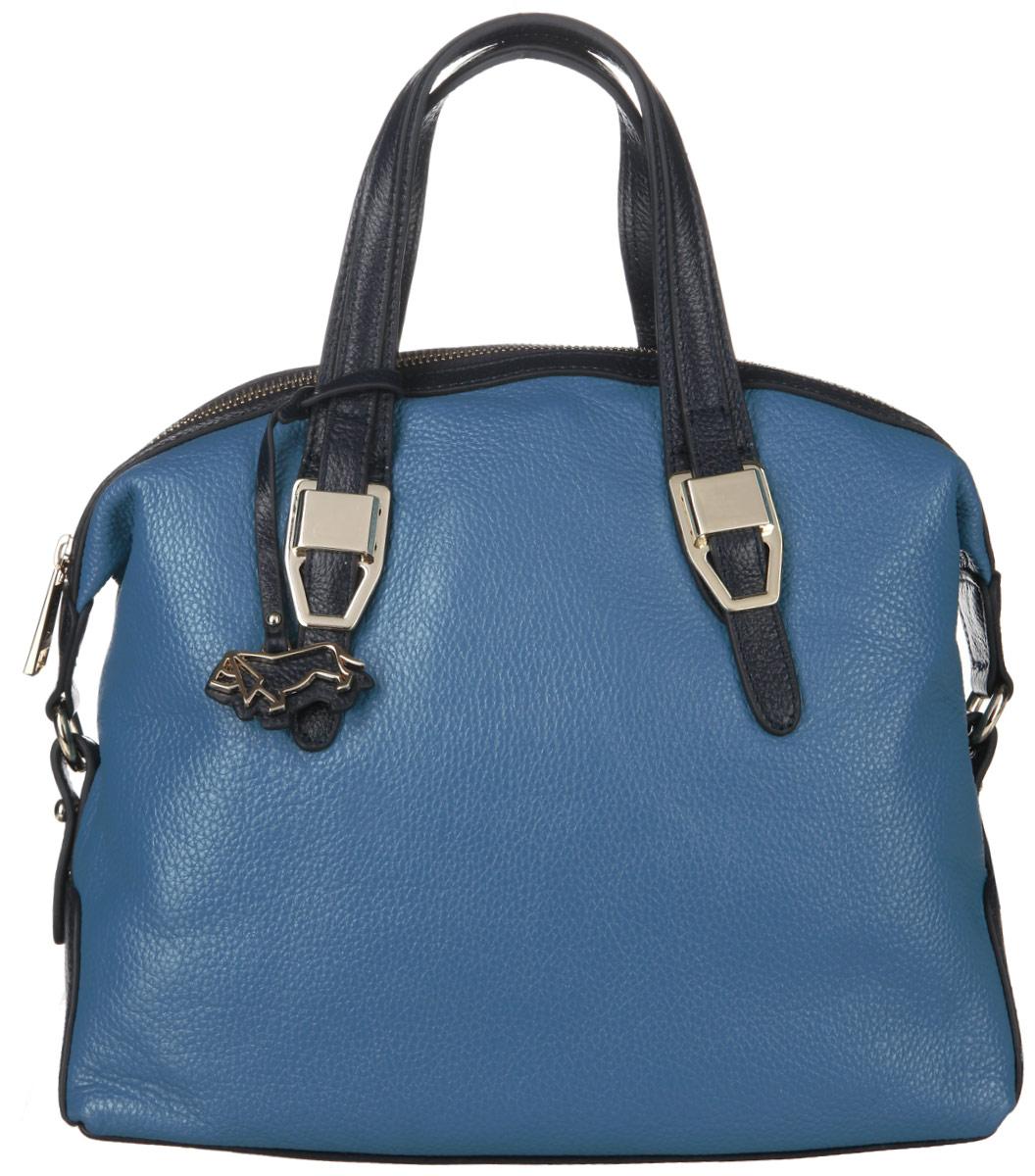 Сумка женская Labbra, цвет: голубой, темно-синий. L-23060-1L-23060-1Стильная женская сумка Labbra выполнена из натуральной кожи с фактурным тиснением и украшена брелоком с логотипом бренда. Изделие имеет одно основное отделение, закрывающееся на застежку-молнию. Внутри находятся два накладных открытых кармана, прорезной карман на застежке-молнии и накладной карман с отделением на застежке-молнии. Снаружи, на задней стенке предусмотрен прорезной карман на застежке-молнии. Сумка оснащена удобными ручками. В комплект входит съемный плечевой ремень. Основание сумки защищено от повреждений металлическими ножками. Изделие упаковано в фирменный чехол. Стильная сумка Labbra прекрасно дополнит ваш образ.