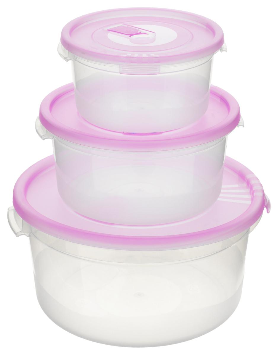 Набор контейнеров Полимербыт Смайл, с клапаном, цвет: прозрачный, розовый, 3 штС52203_розовыйНабор Полимербыт Смайл состоит из 3 контейнеров, изготовленных из прочного пластика. Изделия предназначены специально для хранения пищевых продуктов. Каждый контейнер оснащен герметичной крышкой со специальным клапаном, благодаря которому внутри создается вакуум, и продукты дольше сохраняют свежесть и аромат. Крышка легко открывается и плотно закрывается. Стенки контейнера прозрачные - хорошо видно, что внутри. Контейнеры устойчивы к воздействию масел и жиров, легко моются. Подходят для использования в микроволновых печах при температуре до +110°С, выдерживают хранение в морозильной камере при температуре до -40°С, их можно мыть в посудомоечной машине. Объем контейнеров: 0,4 л; 0,8 л; 1,6 л. Диаметр контейнеров: 12 см; 15 см; 20 см. Высота стенки (без учета крышки): 6 см; 7 см; 9 см.