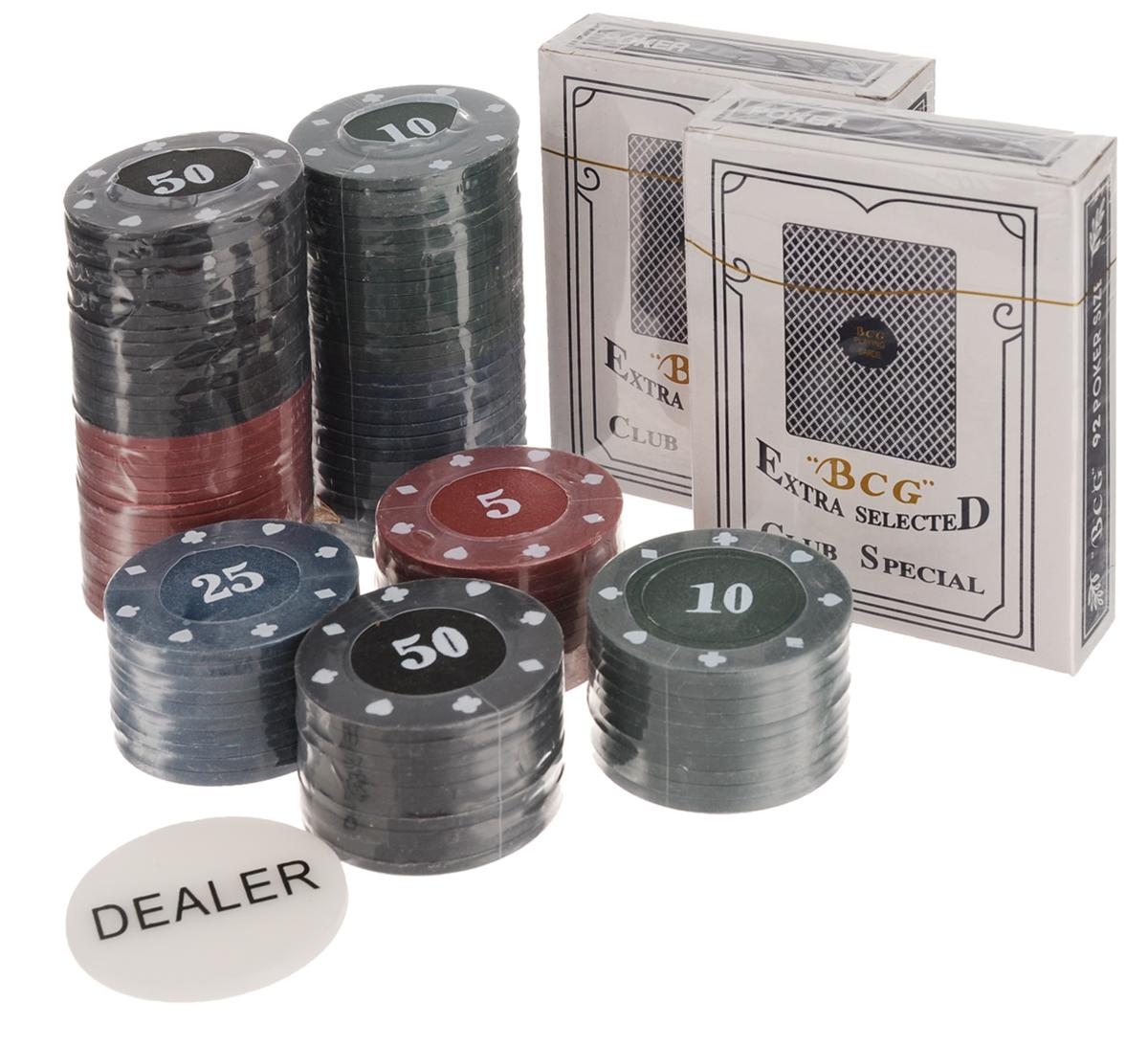 Набор для покера Русские Подарки Professional Poker Chips, 100 фишек. 4244342443Набор для игры в покер Professional Poker Chips порадует как начинающих, так и опытных игроков в покер и поможет вам разнообразить свой досуг . Набор включает в себя 100 фишек черного, синего, зеленого, белого и красного цветов с различным номиналом, а также 1 фишку Dealer и 2 колоды игральных карт для покера. Предметы набора хранятся в металлической коробке. Такой набор станет отличным подарком для любителей покера. Подробная инструкция с правилами игры на русском языке входит в комплект. Покер (англ. poker) - карточная игра, цель которой - выиграть ставки, собрав как можно более высокую покерную комбинацию, используя 5 карт, или вынудив всех соперников прекратить участвовать в игре. Игра идет с полностью или частично закрытыми картами. Покер как карточная игра существует более 500 лет. Зародился он в Европе: в Испании, Франции, Италии. С течением времени правила покера менялись. Первые письменные упоминания о современном варианте покера появляются в...