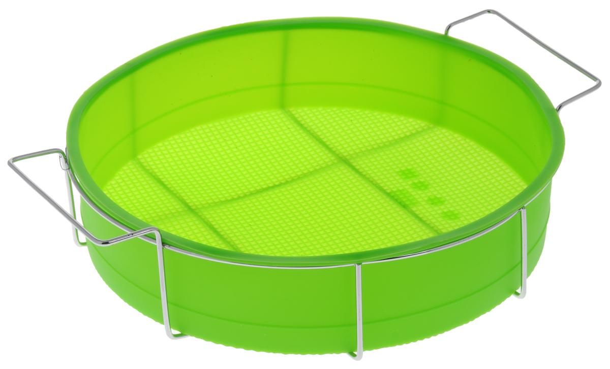 Форма для выпечки Marmiton Круг, силиконовая, на подставке, цвет: зеленый, диаметр 26 см16047_ зеленыйФорма для выпечки Marmiton Круг, выполненная из силикона, предназначена для приготовления выпечки, пудинга, запеканок и желе. Изделие не взаимодействует с продуктами питания и не впитывает запахи, как при нагревании, так и при заморозке. Готовую выпечку или пудинг извлекать из формы легко и просто. С такой формой вы всегда сможете порадовать своих близких оригинальным изделием. Материал устойчив к фруктовым кислотам, может быть использован в духовках и микроволновых печах (выдерживает температуру от 240°C до - 40°C). Можно мыть и сушить в посудомоечной машине. В комплекте металлическая подставка. Диаметр формы: 26 см. Высота формы: 6 см. Размер подставки: 31 см х 25 см х 7,5 см.