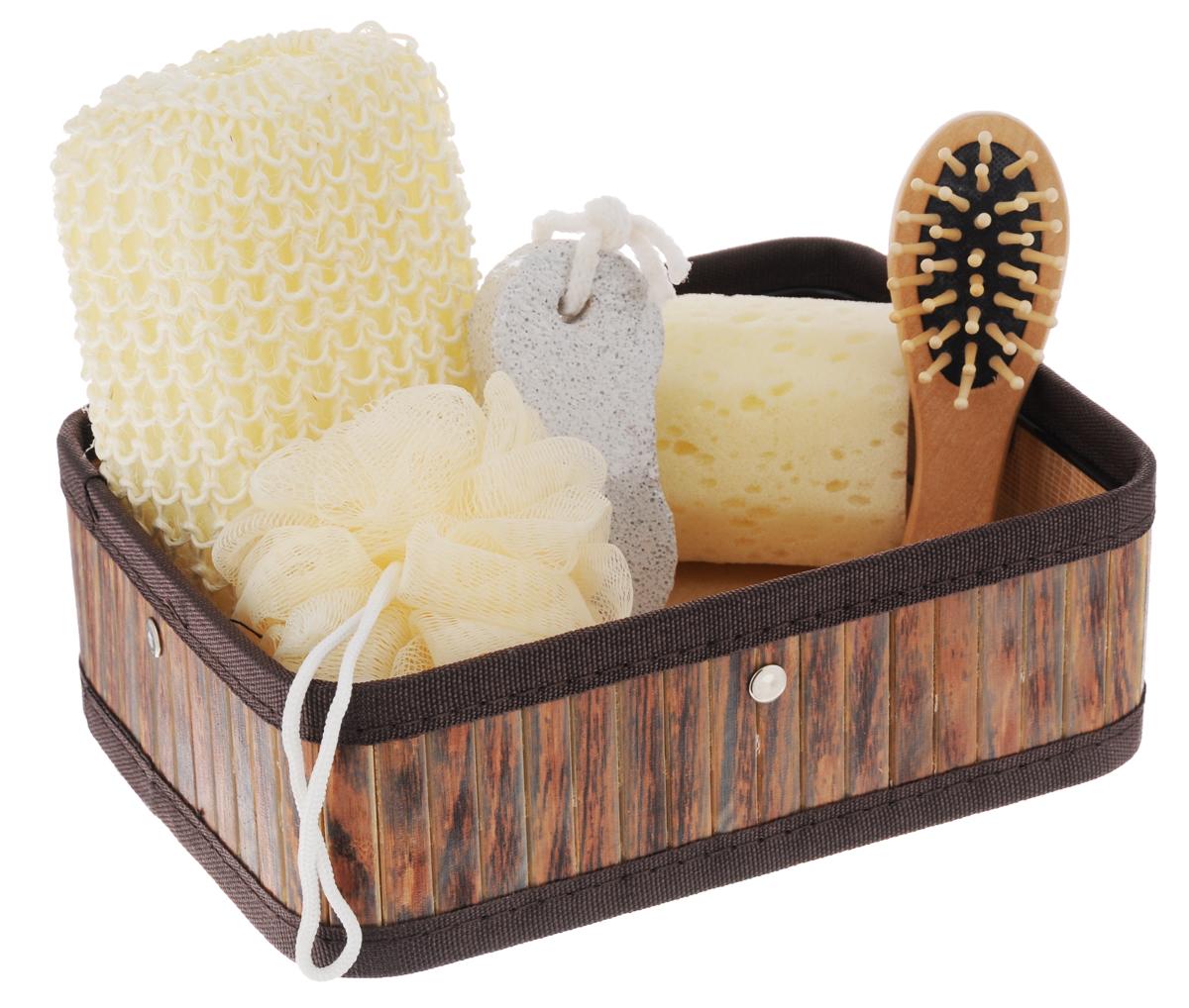 Набор для ванной и бани Феникс-Презент Чистюля, 6 предметов40633Набор для ванной и бани Феникс-презент Чистюля включает: - массажная щетка для волос из древесины павловнии, - мочалка для купания из сизаля, - мочалка для купания из полиэтилена, - губка для купания из поролона, - пемза для ухода за кожей, - коробка из бамбука. Такой мини-набор станет не заменимым и сделает банную процедуру еще более комфортной и расслабляющей. Размер мочалки из сизаля: 14 х 9 х 4,5 см. Диаметр мочалки из полиэтилена: 9,5 см. Диаметр губки для купания: 6 см. Размер щетки для волос: 12 х 4 х 2,3 см. Размер коробки: 22,1 х 16,1 х 7,2 см. Размер пемзы: 9,5 х 4,2 х 1,5 см.