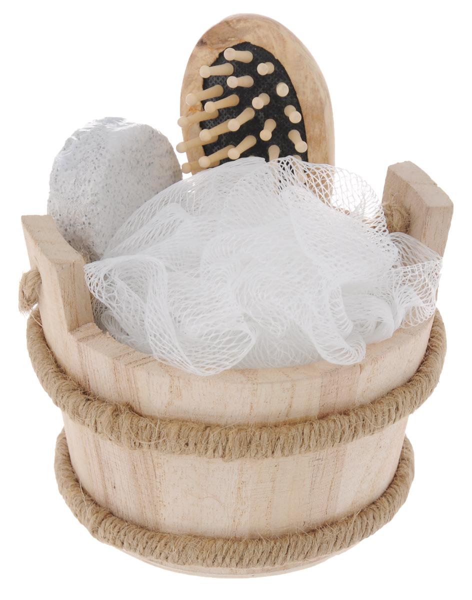 Набор для ванной и бани Феникс-Презент Морская сауна, 4 предмета40635Набор для ванной и бани Феникс-презент Морская сауна включает: - массажная щетка для волос из древесины павловнии, - мочалка для купания из полиэтилена, - пемза для ухода за кожей, - лохань из древесины тополя. Такой мини-набор станет не заменимым и сделает банную процедуру еще более комфортной и расслабляющей. Диаметр мочалки из полиэтилена: 11 см. Размер щетки для волос: 12 х 4 х 2,5 см. Размер лохани: 11 х 9,5 х 8,8 см. Размер пемзы: 9,5 х 4,5 х 1,6 см.