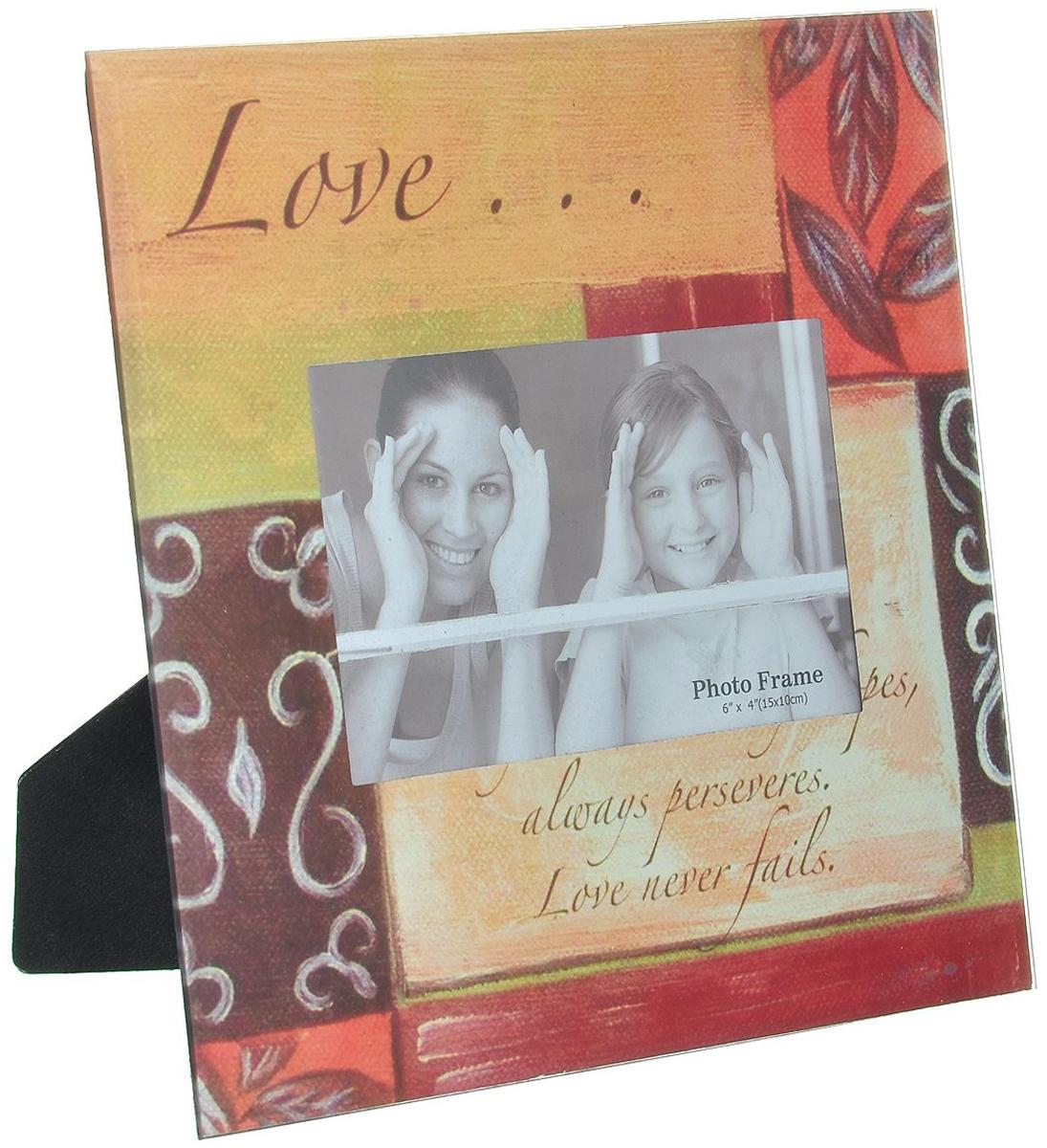 Декоративная фоторамка Love, 15 см х 10 см. 1945019450Декоративная фоторамка Love поможет вам оригинально дополнить интерьер помещения. Фоторамка выполнена из стекла с ярким декором. Задняя сторона отделана бархатистым текстилем и оснащена ножкой для размещения на столе. Такая рамка позволит сохранить на память изображения дорогих вам людей и интересных событий вашей жизни, а также станет приятным подарком для каждого.