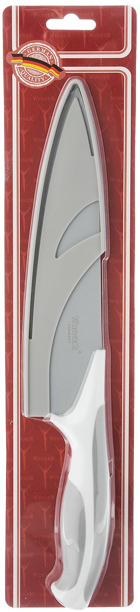 Нож поварской Winner, с чехлом, цвет: серый, белый, длина лезвия 18,2 см. WR-7224WR-7224 серый, белыйПоварской нож Winner выполнен из высококачественной нержавеющей стали с цветным полимерным покрытием Xynflon, предотвращающим прилипание продуктов. Очень удобная и эргономичная ручка выполнена из прорезиненного пластика. Нож предназначен для нарезки мяса, рыбы, овощей и фруктов. Нож Winner держит заводскую заточку в несколько раз дольше, чем обычные стальные ножи. Продукты, которые вы нарезаете таким ножом, не прилипают к лезвию ножа, не вступают в химическую реакцию, не окисляются и не намагничиваются. Нож очень удобен в эксплуатации, не царапается, легко моется. Поварской нож Winner предоставит вам все необходимые возможности в успешном приготовлении пищи и порадует вас своими результатами. К ножу прилагаются пластиковые ножны. Общая длина ножа: 31,2 см. Толщина лезвия: 1,8 мм.