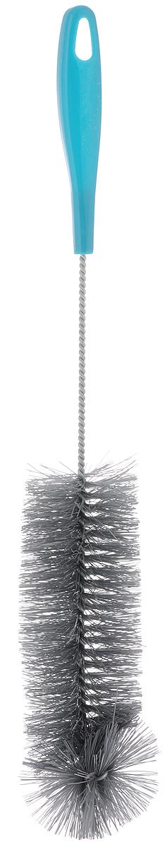 Ершик для бутылок York, цвет: морская волна, длина 41 см4103_морская волнаЕршик York предназначен для мытья бутылок. Изделие оснащено жесткой прочной щетиной, выполненной из сложных полимеров и закреплена на металлическом крученом стержне. Не гнется во время мытья. Эргономичная рукоятка, изготовленная из полипропилена (пластика), оснащена отверстием для подвешивания. Длина ершика: 41 см. Размер щетины: 6 х 6 х 18,5 см.
