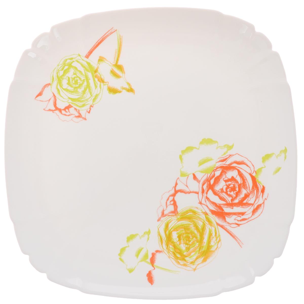 Тарелка обеденная Luminarc Amaria, 26 х 26 смJ1823Обеденная тарелка Luminarc Amaria, изготовленная из высококачественного стекла, имеет изысканный внешний вид. Яркий дизайн придется по вкусу и ценителям классики, и тем, кто предпочитает утонченность. Тарелка Luminarc Amaria идеально подойдет для сервировки стола и станет отличным подарком к любому празднику. Размер тарелки (по верхнему краю): 26 х 26 см.