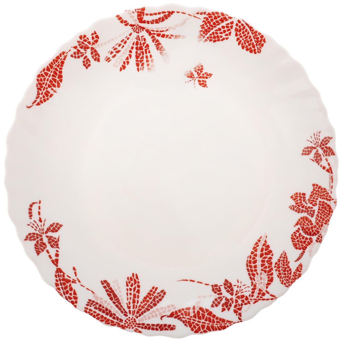 Тарелка десертная Luminarc Romancia, диаметр 18,5 смH2395Десертная тарелка Luminarc Romancia, изготовленная из ударопрочного стекла, декорирована изображением цветов. Такая тарелка прекрасно подходит как для торжественных случаев, так и для повседневного использования. Идеальна для подачи десертов, пирожных, тортов и многого другого. Она прекрасно оформит стол и станет отличным дополнением к вашей коллекции кухонной посуды. Диаметр тарелки (по верхнему краю): 18,5 см.