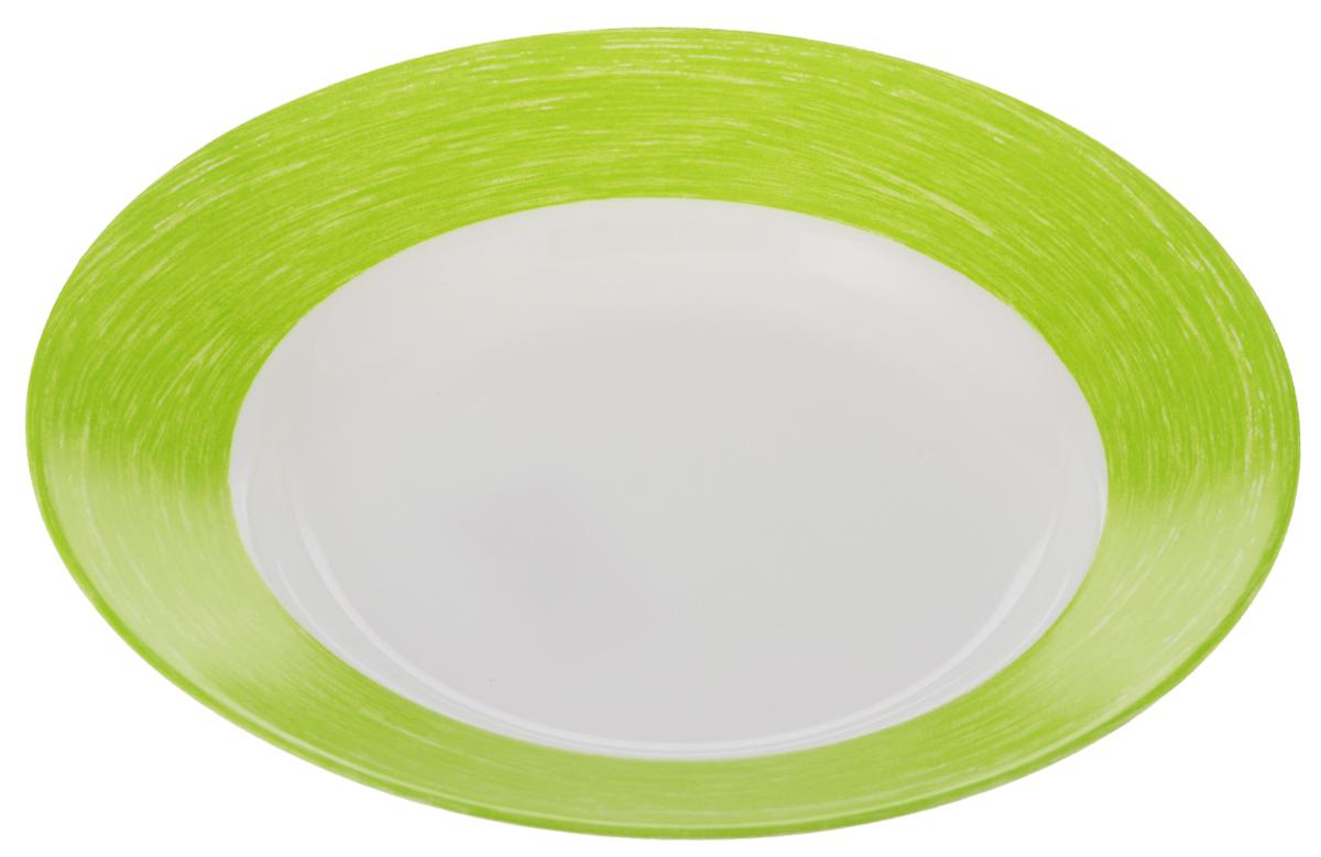 Тарелка суповая Luminarc Color Days, цвет: белый, салатовый, диаметр 22 смL1496Суповая тарелка Luminarc Color Days выполнена из ударопрочного стекла. Она прекрасно впишется в интерьер вашей кухни и станет достойным дополнением к кухонному инвентарю. Тарелка Luminarc Color Days подчеркнет прекрасный вкус хозяйки и станет отличным подарком. Можно мыть в посудомоечной машине и использовать в микроволновой печи. Диаметр тарелки: 22 см.