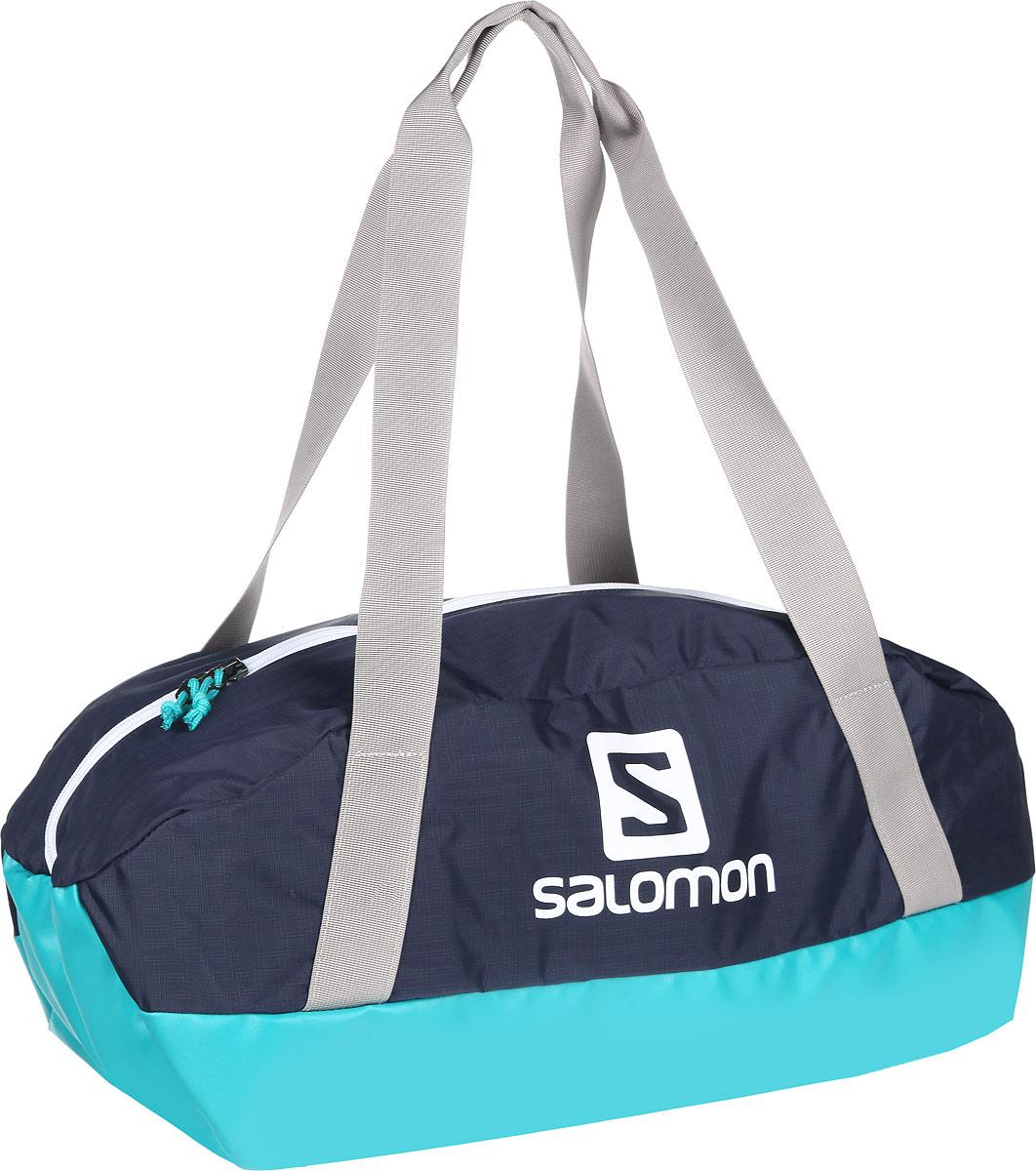 Сумка спортивная Salomon Sports Bag, цвет: бирюзовый, синий, серый. L38002600L38002600Спортивная сумка Salomon Sports Bag выполнена из износостойкого нейлона, оформлена изображением логотипа бренда. Изделие закрывается на молнию, внутри содержит два врезных кармана, каждый из которых закрывается на застежку-молнию. Сумка оснащена двумя широкими ручками, позволяющими носить изделие, как в руках, так и на плече. Изделие дополнено прочным непромокаемым дном. Практичная спортивная сумка станет незаменимым аксессуаром для занятий спортом.