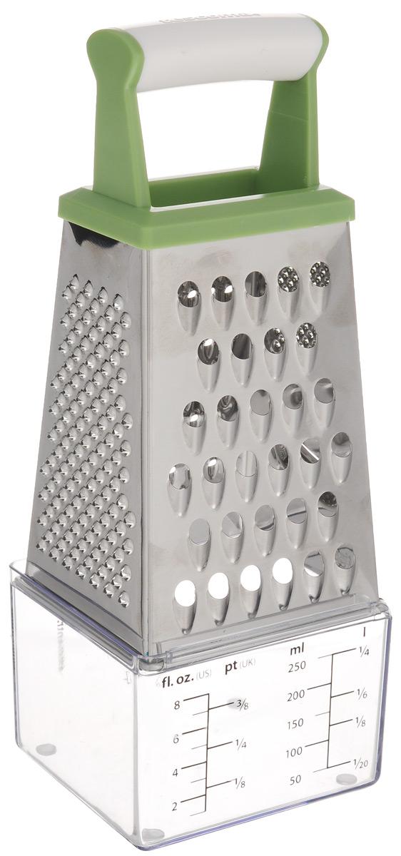 Терка четырехгранная Tescoma Handy, цвет: зеленый, белый, высота 17 см643788_зелёный/белыйТерка Tescoma Handy изготовлена из первоклассной нержавеющей стали и предназначена для быстрого и простого натирания и нарезки на ломтики всех видов продуктов. Всего 4 вида лезвий: крупная терка, мелкая терка, крупная и мелкая шинковка. Сверху изделие оснащено эргономичной пластиковой рукояткой для удобной работы. В комплекте - измерительная емкость для тертого сыра и жидкостей. Каждая хозяйка оценит все преимущества этой компактной терки. Очень практичный и современный дизайн делает изделие весьма простым в эксплуатации. Можно мыть в посудомоечной машине. Высота терки (с учетом ручки): 19 см. Размер емкости: 7,5 х 8,5 х 6 см.