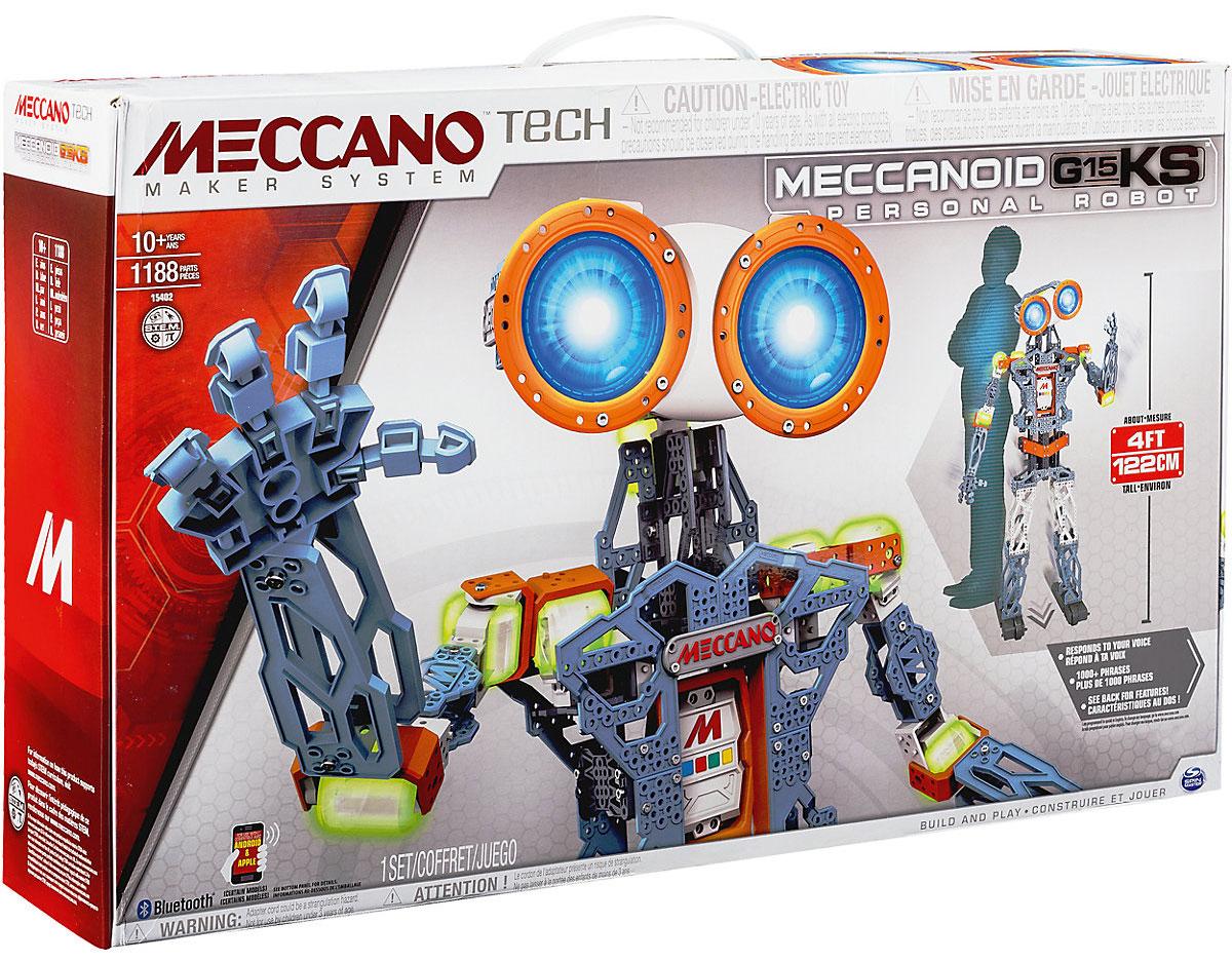 Meccano Конструктор Робот Мекканоид G15KS91764Конструктор Meccano Робот Мекканоид G15KS - это больше, чем просто игрушка. Для его построения вам понадобится 1188 деталей. G15KS - это ваш чрезвычайно остроумный лучший друг ростом чуть выше метра (122 см)! Он оснащен удивительной системой распознавания голоса и хранит свыше тысячи запрограммированных фраз, комментариев и остроумных ответов. Программировать робота совсем не сложно, положитесь на свою интуицию - особых навыков вам не понадобится! Ключом к программированию робота является его встроенный Меккамозг. Программирование Мекканоида G15KS производится 3 инновационными способами: благодаря режиму программирования движений (РПД), вы можете просто изменять положение рук робота или разговаривать с ним, а Мекканоид при этом записывает то, что вы делаете и повторяет это снова для вас! Вы можете управлять и программировать при помощи своего смартфона: возьмите руки робота и двигайте ими. Мекканоид запомнит движения и повторит их. Запустите на...