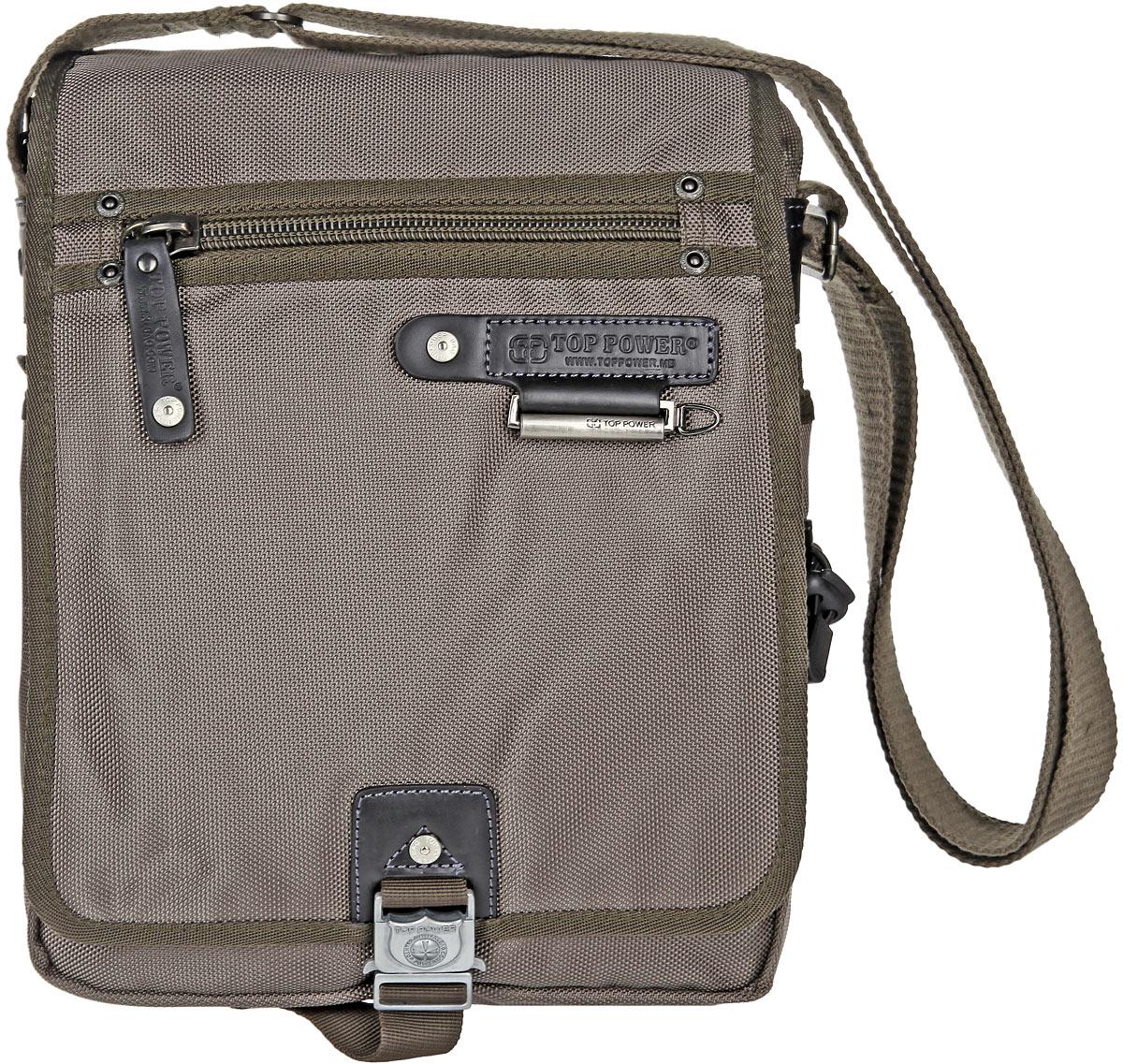 Сумка-планшет мужская Top Power, цвет: хаки. 1361 TP1361 TP khakiСтильная мужская сумка-планшет Top Power выполнена из плотного полиэстера и искусственной кожи. Сумка имеет одно основное отделение, закрывающееся на застежку-молнию. Внутри находится прорезной карман на застежке-молнии, карман для планшета на застежке-липучке, два накладных открытых кармана, два держателя для авторучек и накладной карман, закрывающийся на клапан с застежкой-липучкой. Закрывается изделие на клапан с застежкой-липучкой и дополнительно на застежку-защелку. На передней стенке, под клапаном, находится накладной карман на застежке-молнии, прорезной карман на застежке-молнии и накладной карман на застежке-липучке. Внешняя сторона клапана оснащена прорезным карманом на застежке-молнии. На задней стенке сумки расположен дополнительный прорезной карман на застежке-молнии. По бокам предусмотрены накладные карманы на застежках-липучках. Сумка оснащена текстильным плечевым ремнем регулируемой длины. Стильная сумка - необходимый аксессуар для современного мужчины.