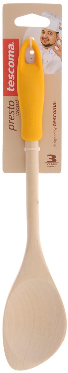 Ложка кулинарная Tescoma Presto Wood, с углом, цвет: темно-желтый, длина 30 см637212_темно-желтыйЛожка Tescoma Presto Wood изготовлена из экологически чистого материала - качественной березовой древесины, обладающей уникальной текстурой. Элегантная ручка имеет противоскользящую обработку, что дает возможность удобно и комфортно пользоваться ложкой. Такая кухонная принадлежность подходит для всех видов посуды, а также замечательна для посуды с антипригарным покрытием. Ложка Tescoma Presto Wood станет вашим незаменимым помощником на кухне, а также это практичный и необходимый подарок любой хозяйке! Размер рабочей поверхности: 5,6 х 8 см. Общая длина ложки: 30 см.