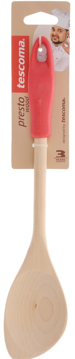 Ложка кулинарная Tescoma Presto Wood, с углом, цвет: красный, длина 30 см637212_красныйЛожка Tescoma Presto Wood изготовлена из экологически чистого материала - качественной березовой древесины, обладающей уникальной текстурой. Элегантная ручка имеет противоскользящую обработку, что дает возможность удобно и комфортно пользоваться ложкой. Такая кухонная принадлежность подходит для всех видов посуды, а также замечательно для посуды с антипригарным покрытием. Ложка Tescoma Presto Wood станет вашим незаменимым помощником на кухне, а также это практичный и необходимый подарок любой хозяйке! Нельзя мыть в посудомоечной машине. Размер рабочей поверхности: 5,6 х 8 см. Общая длина ложки: 30 см.