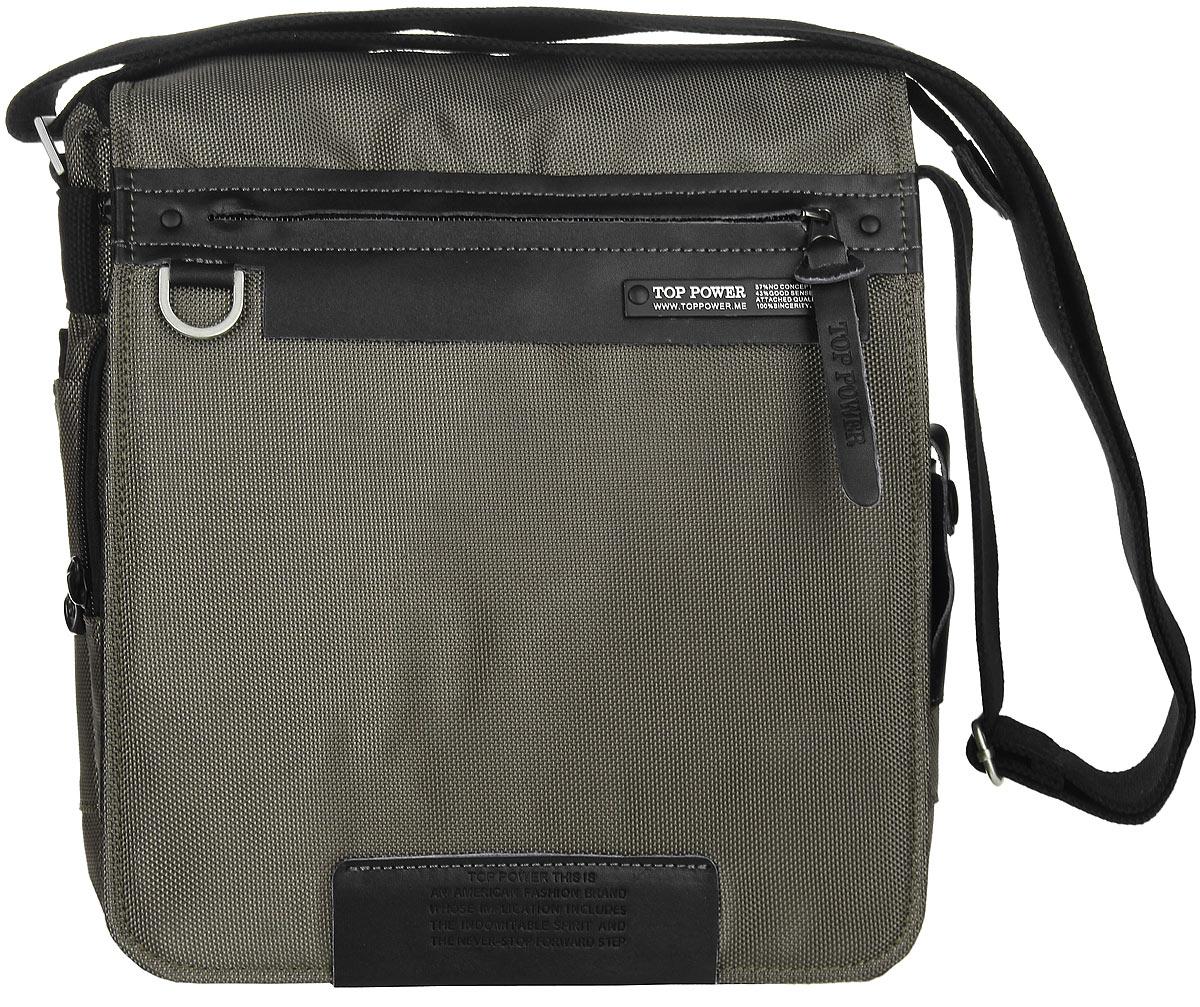 Сумка-планшет мужская Top Power, цвет: хаки, черный. 640 TP640 TP khakiСтильная мужская сумка-планшет Top Power выполнена из плотного полиэстера и натуральной кожи. Изделие имеет одно основное отделение, которое закрывается на застежку-молнию. Внутри находится накладной карман на застежке-молнии, два накладных открытых кармана, два держателя для авторучек и карман для телефона, закрывающийся на клапан с застежкой- липучкой. Закрывается изделие на клапан с застежкой-липучкой. Внешняя сторона клапана оснащена прорезным карманом на застежке-молнии. Под клапаном расположен мягкий карман для планшета на застежке-молнии, накладной карман на застежке-молнии, два открытых накладных кармана и два держателя для авторучек. Снаружи, по бокам предусмотрены накладные карманы на застежках-липучках. Также на одной из боковых сторон расположен кармашек с прозрачным окошком, закрывающийся на хлястик с застежкой- кнопкой. На задней стенке располагается прорезной карман на застежке-молнии. Сумка оснащена текстильным плечевым ремнем...