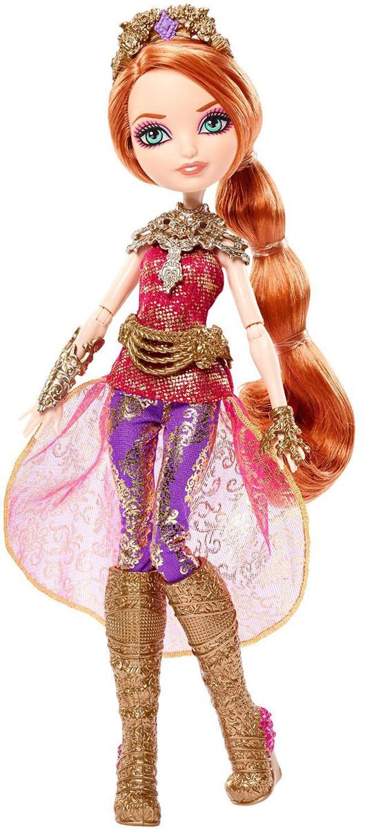 Ever After High Кукла Холли ОХараDHF33_DHF37Кукла Ever After High Холли ОХара станет отличным подарком для юной поклонницы мультфильма Игры Драконов! Холли ОХара - дочь Рапунцель. Кукла имеет длинные рыжие волосы, которые можно уложить в очаровательные прически. Наряд куклы состоит из туники с асимметричным подолом, фиолетовых лосин и высоких сапожек. Образ дополняют объемное ожерелье и тиара. В комплект с куколкой также входит кольцо для девочки. Игрушка выполнена из безопасных для здоровья ребенка материалов.